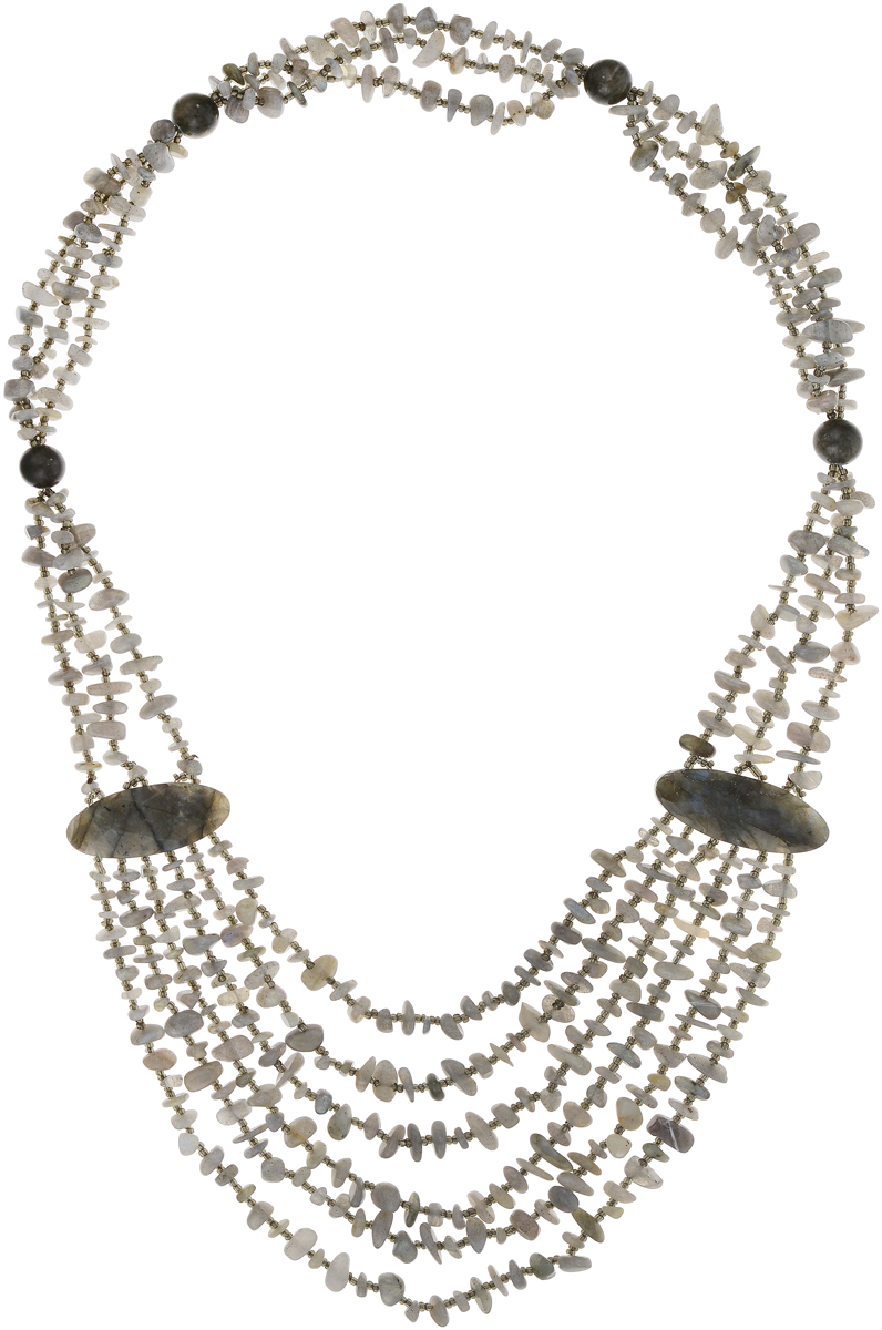 Бусы Art-Silver, цвет: серый. СМЦ40-9-1208Бусы-ниткаБусы Art-Silver выполнены из бижутерного сплава и камня халцедона. Изделие оформлено бусинами различного диаметра.