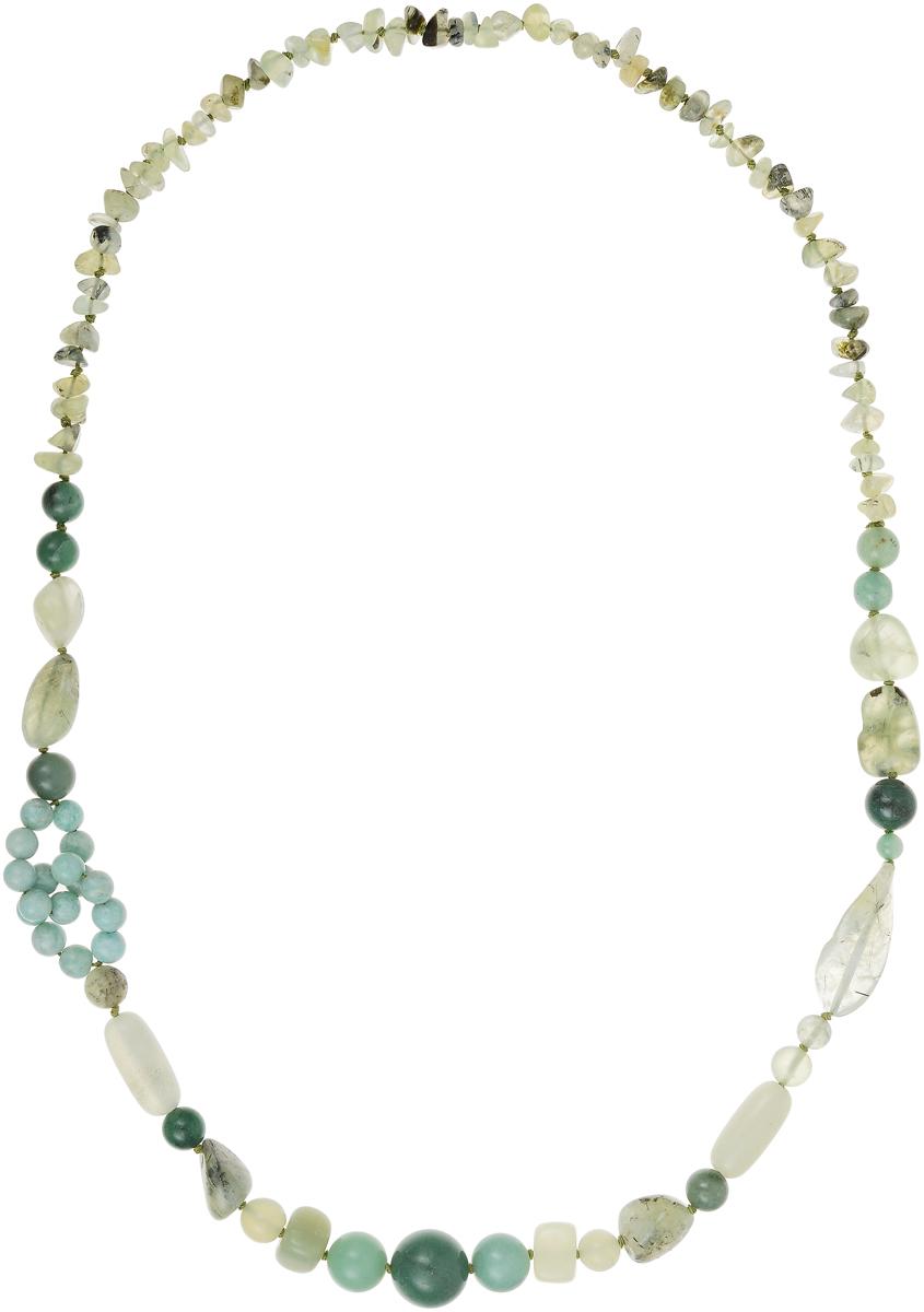 Бусы Art-Silver, цвет: зеленый. А-13-1-837Бусы-ниткаБусы Art-Silver выполнены из текстиля, нефрита и жадеита. Изделие оформлено бусинами различного диаметра.