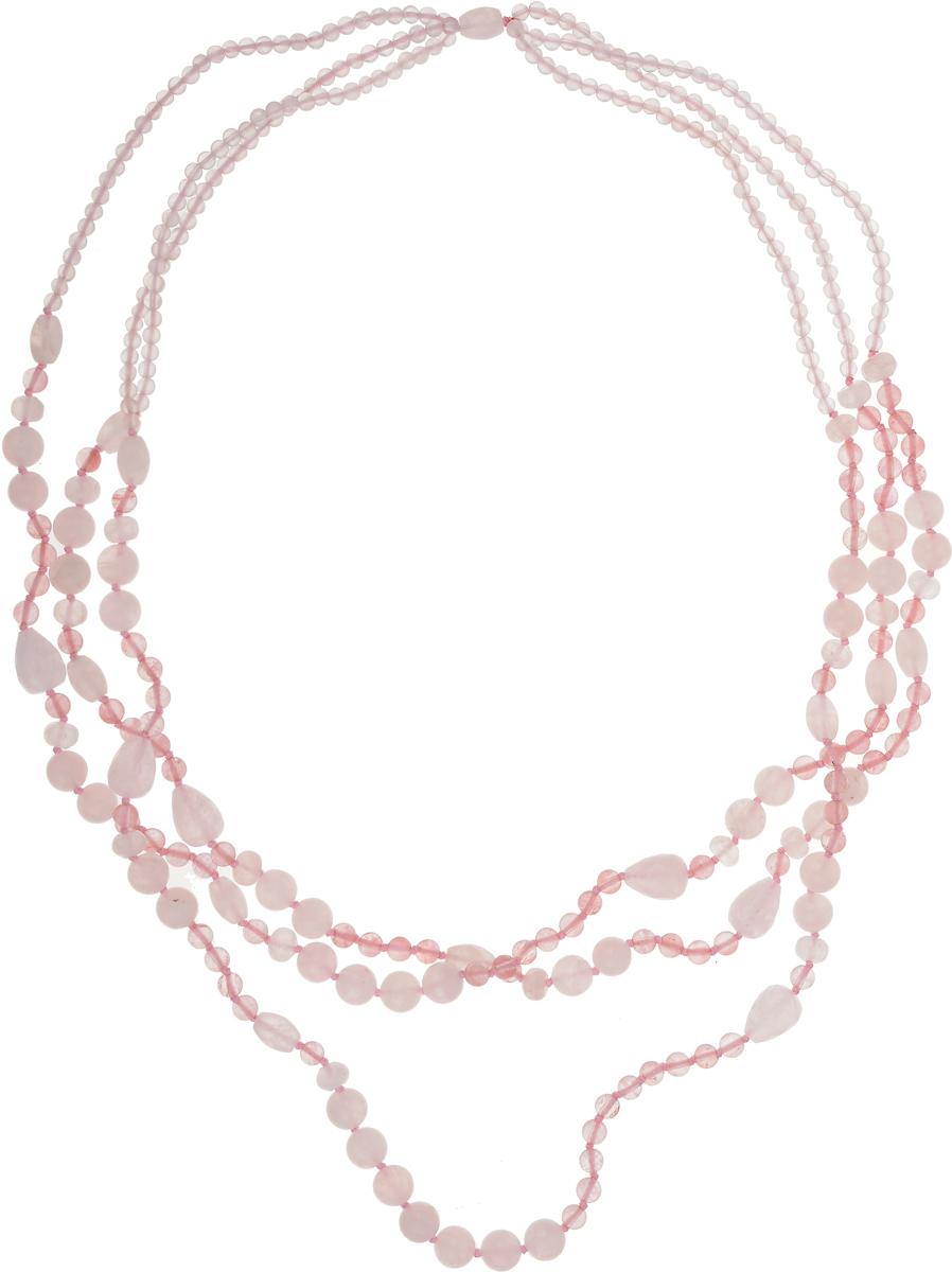 Бусы Art-Silver, цвет: розовый. TNL124-837Бусы-ниткаБусы Art-Silver выполнены из текстиля и кварца. Изделие оформлено бусинами различного диаметра.