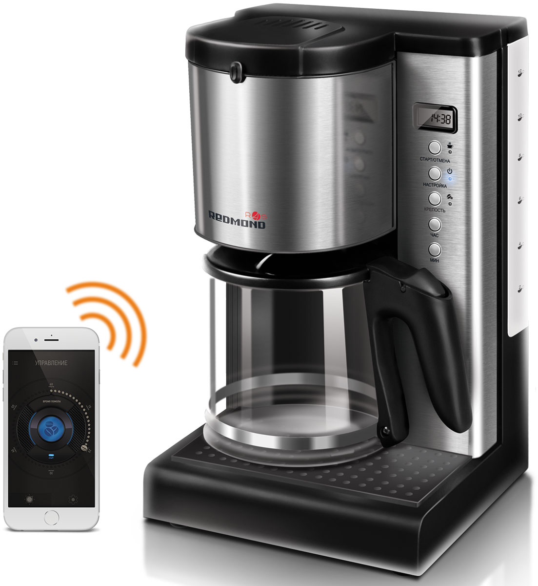 Redmond SkyCoffee RCM-M1509S умная кофеваркаRCM-M1509SКофеварка Redmond M1509S – это современная кофемашина для дома и офиса, ее объемного кувшина для воды (1,5 л) хватит на 12-15 чашек эспрессо одновременно. Если вы хотите выпить чашечку горячего кофе, как только придете на работу или домой, начните его приготовление по пути!Умная кофемашина управляется как через бесплатное мобильное приложение Ready for Sky Home на вашем смартфоне, так и с панели прибора. С любого расстояния легко включить прибор, запустить приготовление кофе, выбрать крепость напитка, задать таймер включения (до 24 часов), а также заблокировать ручное включение M1509S, что особенно актуально для семей с маленькими детьми.Smart кофеварка отличается стильным дизайном и компактными размерами. Корпус прибора изготовлен из высококачественного пластика с элементами из нержавеющей стали, а кувшин для готового напитка – из термостойкого стекла.В смарт кофеварке предусмотрена удобная система Антикапля. Кофе не прольется на поддон, даже если вы снимете кувшин кофеварки до того, как она завершит работу.Система автооключения и защита от перегрева обеспечивают безопасное использование smart кофемашины.