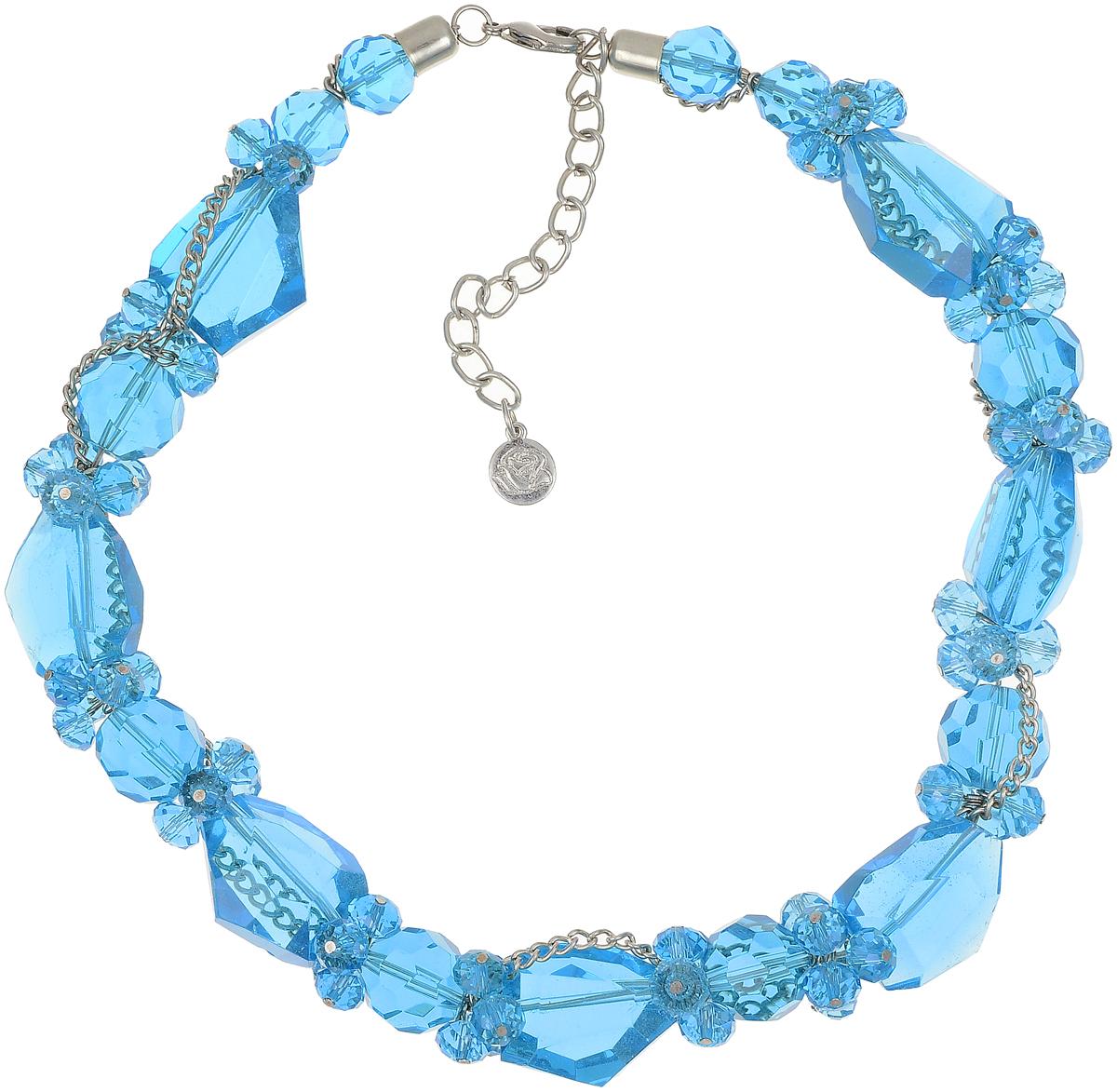 Бусы Art-Silver, цвет: голубой. TNL017-575Бусы-ниткаБусы Art-Silver выполнены из бижутерного сплава, циркона и кристаллов. Изделие оснащено удобным замком-карабином.
