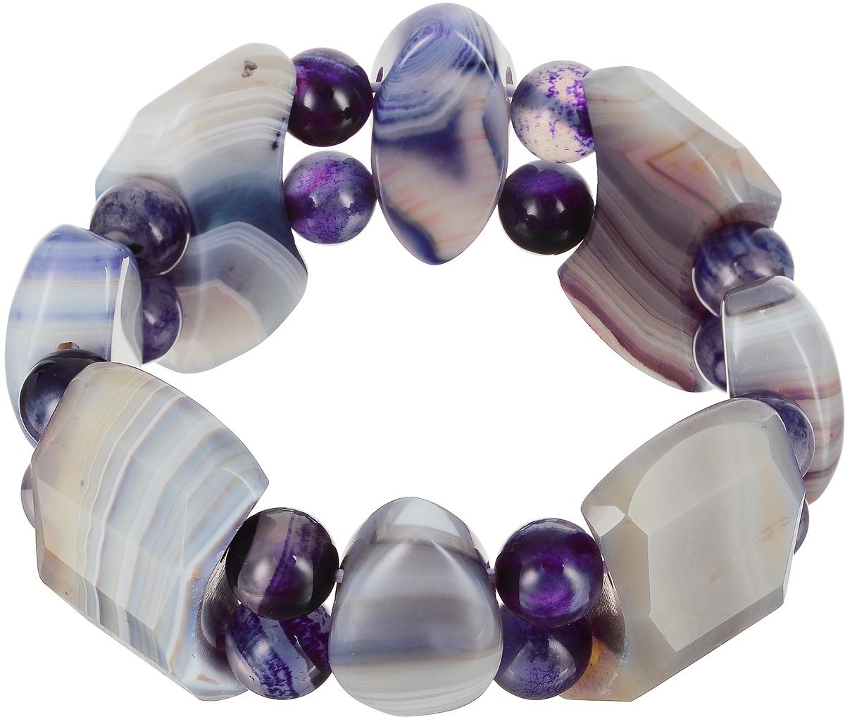 Браслет Art-Silver, цвет: фиолетовый. KW61-2-701Браслет с подвескамиИзящный женский браслет Art-Silver выполнен из камня чароита. Эластичная прочная резинка позволит идеально зафиксировать модель на руке.Это стильное украшение элегантно завершит модный образ и подчеркнет ваш изысканный вкус.