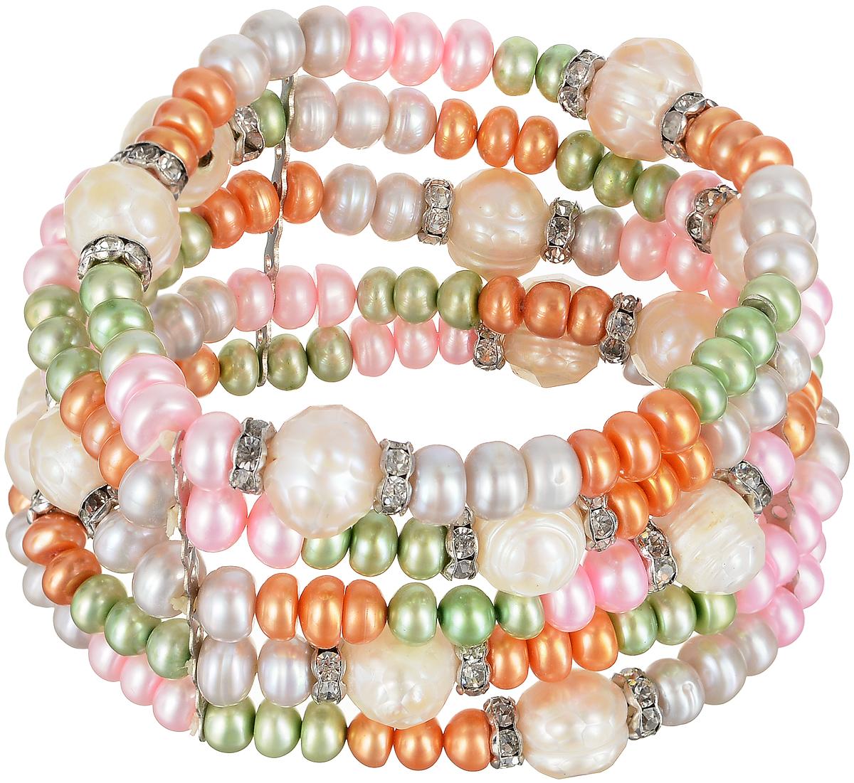 Браслет Art-Silver, цвет: белый, зеленый, розовый. B0614-770Браслет с подвескамиЭффектный женский браслет Art-Silver изготовлен из бижутерного сплава, жемчугаи циркона. Этот необычный и стильный браслет отлично разбавит ваш повседневный образ, добавит в него изюминку.