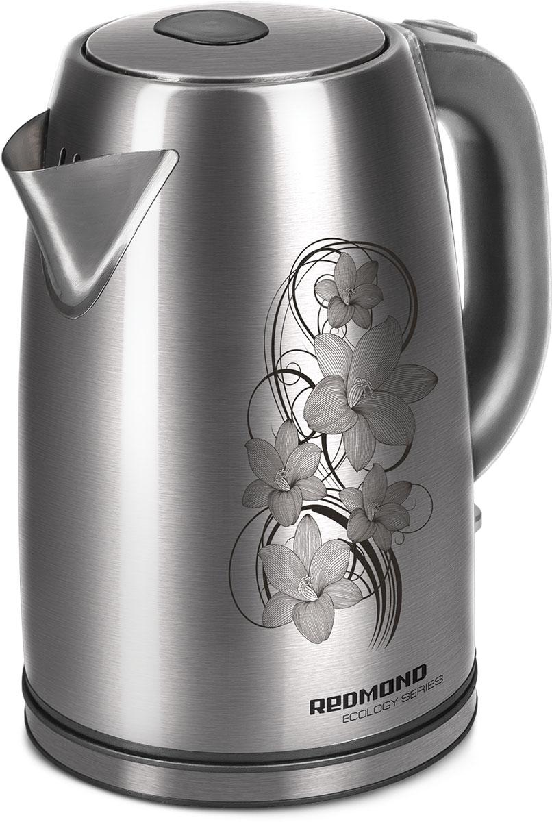 Redmond RK-M159 электрический чайникRK-M159Электрический чайник Redmond RK-М159 — новая вместительная модель объёмом 1,8 литра с надёжным корпусом из нержавеющей стали, способная приятно удивить своими техническими характеристиками и уникальным благородным дизайном.Чайник RK-М159 автоматически выключается при закипании и при недостаточном количестве воды. Устройство снабжено дисковым нагревательным элементом и способно вращаться на подставке на 360°.Redmond RK-М159 имеет удобную эргономичную ручку, большой носик и градуированную шкалу уровня воды. Помимо этого, прибор порадует синей подсветкой выключателя. Вы высоко оцените этот современный и мощный чайник!
