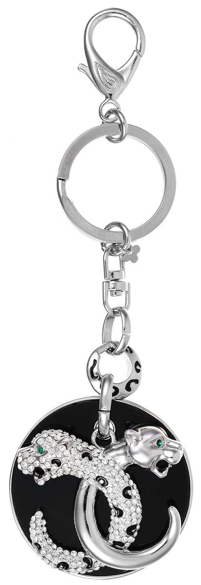 Брелок Art-Silver, цвет: серебряный, черный. V059975-2295Брелок для ключейОригинальный брелок Art-Silver выполнен из бижуреного сплава с вставками из эмали и циркона. С помощью металлического кольца и карабина брелок можно пристегнуть на пояс, к рюкзаку, сумке или повесить на связку ключей.
