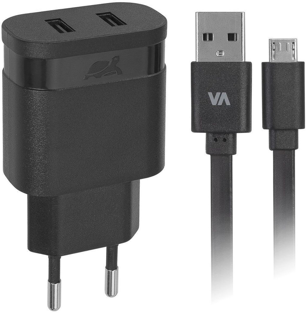 Rivapower VA4122 BD1, Black сетевое зарядное устройствоVA4122 BD1Универсальное сетевое зарядное устройство Rivapower VA4122 BD1 совместимо со всеми устройствами, использующими USB порт для зарядки своих аккумуляторов. Позволяет заряжать 2 устройства одновременно, занимая всего одну розетку. Высококачественные компоненты, встроенные фильтры, защита от скачков напряжения, защита от перегрузки, перегрева и короткого замыкания делают процесс зарядки быстрым, эффективным и безопасным. Корпус сделан из негорючего пластика, устойчивого к механическим повреждениям.Компактные размеры зарядного устройства позволяют свободно пользоваться соседними розетками и делают его очень удобным в поездках. В комплект входит дата-кабель microUSB длиной 1 метр.