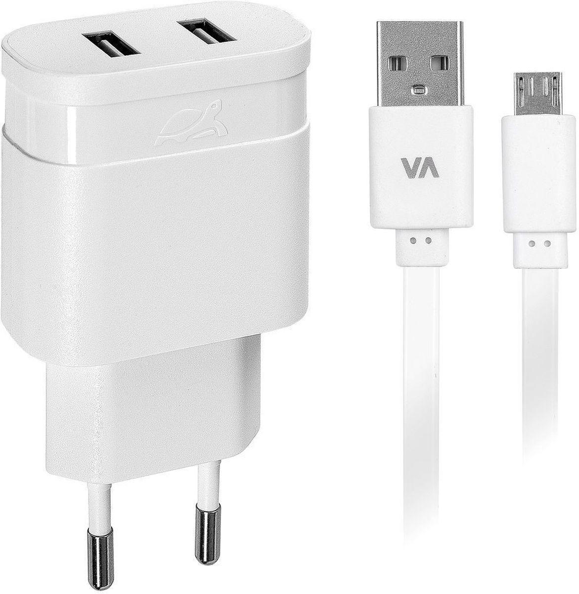 Rivapower VA4122 WD1, White сетевое зарядное устройствоVA4122 WD1Универсальное сетевое зарядное устройство Rivapower VA4122 WD1 совместимо со всеми устройствами, использующими USB порт для зарядки своих аккумуляторов. Позволяет заряжать 2 устройства одновременно, занимая всего одну розетку. Высококачественные компоненты, встроенные фильтры, защита от скачков напряжения, защита от перегрузки, перегрева и короткого замыкания делают процесс зарядки быстрым, эффективным и безопасным. Корпус сделан из негорючего пластика, устойчивого к механическим повреждениям.Компактные размеры зарядного устройства позволяют свободно пользоваться соседними розетками и делают его очень удобным в поездках. В комплект входит дата-кабель microUSB длиной 1 метр.