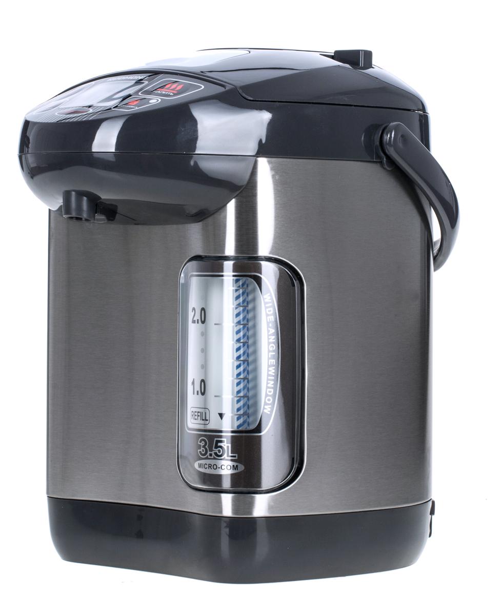 Redmond RTP-M801, GreyRTP-M801 серебристый/черныйС термопотом REDMOND RTP-M801 у вас дома под рукой всегда будет горячая вода для любимых напитков. Нужно лишь выбрать требуемую температуру: 65, 85 или 98°C. Также вы можете воспользоваться таймером включения, чтобы термопот вскипятил воду к нужному времени. Индикация работы, электронное управление с ЖК-дисплеем, подсветка шкалы уровня воды и возможность выбора любого из трех способов розлива воды делают RTP-M801 исключительно удобным в обращении.