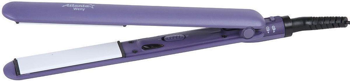 Atlanta ATH-6723, Violet выпрямитель для волос77.858@26095Выпрямитель для волос Atlanta ATH-6723 поможетвам создать идеальную укладку у себя дома. Модель имеет керамический нагревательный элемент и обладает мощностью 35 Вт. Прибор оснащен вращающимся шнуром и световым индикатором работы.Керамическая рабочая поверхностьКерамический нагревательный элемент с быстрым стартомИндикатор работыРазмер насадок 25 на 90 мм
