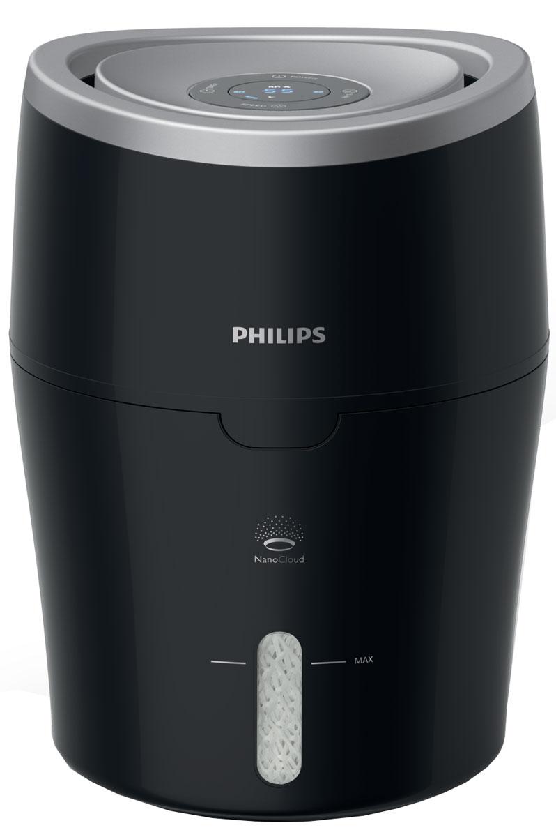 Philips HU4813/11 увлажнитель воздуха с функцией очищенияHU4813/11Дышите свежим воздухом благодаря увлажнителю Philips HU4813/1. Технология испарения NanoCloud снижает риск распространения бактерий на 99 % по сравнению с ведущими ультразвуковыми увлажнителями, а также предотвращает образование мокрых пятен и белого налета.Гигиеничный процесс естественного испарения для оптимального результата: по мере прохождения сухого воздуха через увлажнитель к нему добавляется водяной пар. Технология NanoCloud основана на таком естественном процессе, при котором сухой воздух поглощается прибором, насыщается молекулами воды, а затем в помещение выпускается увлажненный воздух.Благодаря равномерному увлажнению помещения на 360° прибор не создает мокрые пятна на полу и других поверхностях. Технология NanoCloud снижает риск распространения минеральных веществ в воздухе, тем самым предотвращая образование белого налета на мебели.В ночном режиме увлажнитель работает с минимальным уровнем шума и все индикаторы, кроме индикатора скорости, отключаются. Эта настройка позволит поддерживать нужный уровень влажности, даже когда вы спите.Наполните резервуар водой из кувшина или прямо из-под крана. Понятный индикатор максимального уровня показывает, до какого уровня необходимо заполнить резервуар. Если резервуар пустой, увлажнитель воздуха автоматически выключается и на дисплее отображается напоминание о необходимости его наполнения.Округлая форма с минимальным количеством деталей обеспечивает простоту очистки. Этот увлажнитель не оснащен нагревательной пластиной, поэтому очистка от накипи не требуется.Когда вода испаряется, образуется невидимый глазу водяной пар. Его молекулы очень малы, меньше, чем размер бактерии, поэтому не могут переносить последних по воздуху. Лабораторные исследования подтвердили: технология NanoCloud снижает риск распространения бактерий на 99 % более эффективно, чем ведущие ультразвуковые увлажнители.Увлажнитель снижает риск ожогов из-за горячей воды или пара, так как 