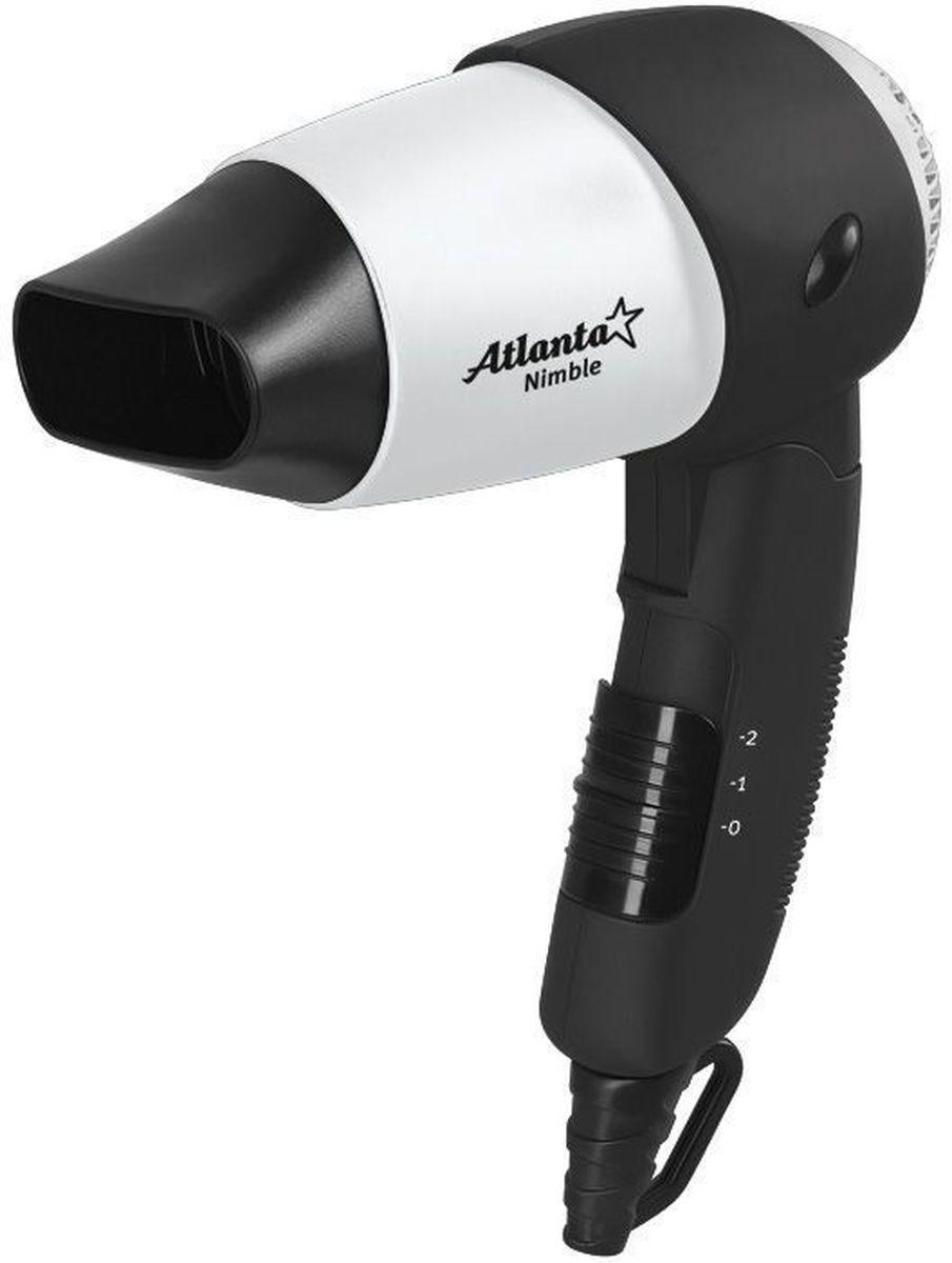Atlanta ATH-884, Gray фен77.858@17862Фен Atlanta ATH-884 обеспечивает мощный воздушный поток и быструю сушку волос. Благодаря складывающейся ручке, идеален для путешествий или командировок. Мощность модели составляет 1200 Вт. Прибор оснащен 2 режимами интенсивности воздушного потока, максимальная температура которого составляет 57°C. Спиральный нагревательный элемент в виде конуса гарантирует нагрев по всему потоку воздуха. Эргономичная ручка с противоскользящим покрытием удобно лежит в ладони, кнопки управления находятся под рукой. Изделие соответствует американским и европейским нормам безопасности.Защита от перегреваДва уровня интенсивности сушкиСпециальное противоскользящие покрытие