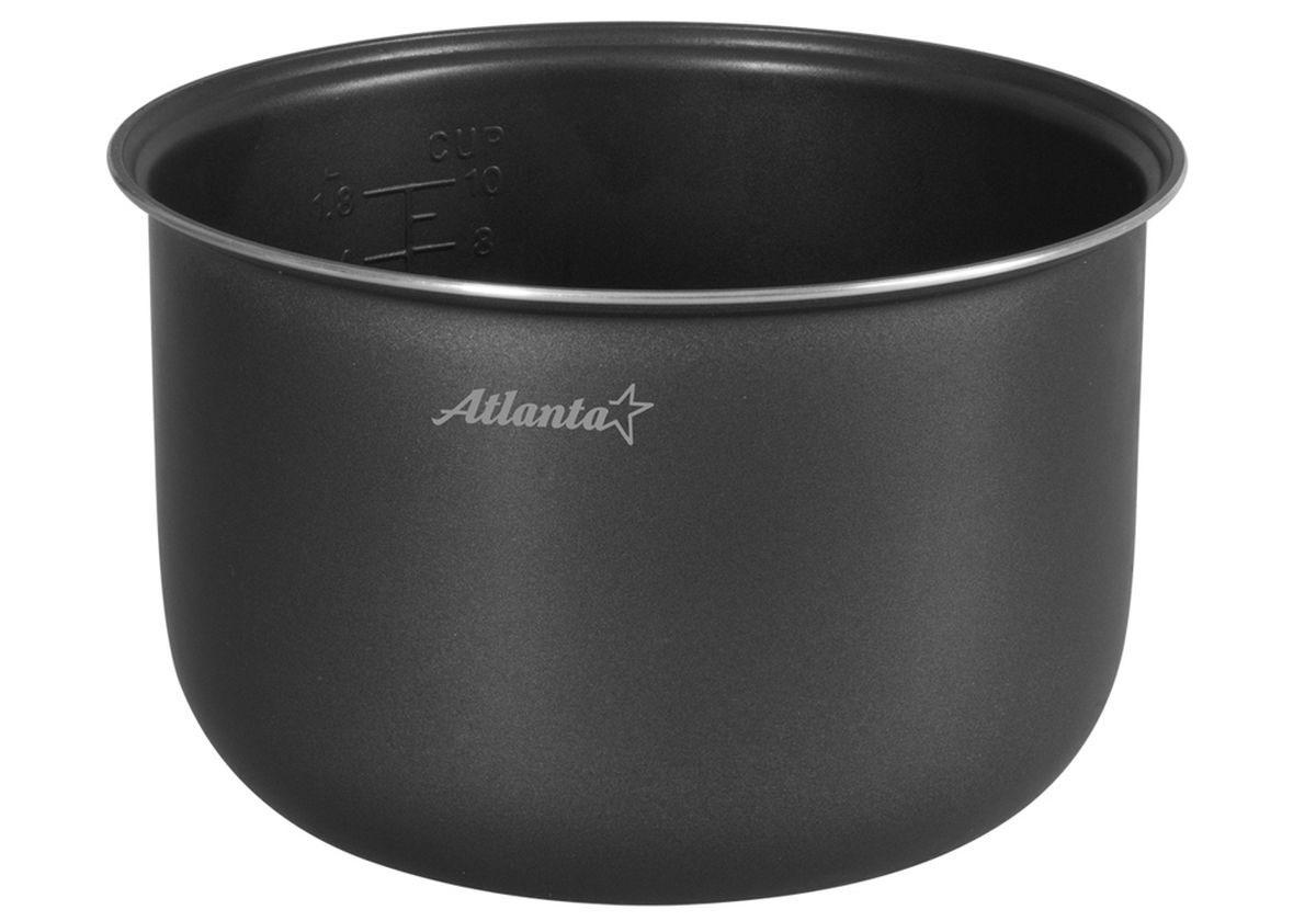 Atlanta SP-595 чаша для мультиварки77.858@22007Atlanta SP-595 - дополнительная чаша для мультиварки объемом 5 л, которая позволяет приготовить различные блюда без добавления масла или жира. Чаша имеет прочные стенки и двухслойное антипригарное покрытие, которое не окисляется, не сдержит вредные примеси и равномерно распределят тепло. Она выдерживает высокие температуры без ущерба для своих технических и качественных характеристик. Для вашего удобства внутри чаши предусмотрена мерная шкала.Диаметр чаши по верхнему краю: 23,5 см. Высота чаши: 14,5 см.
