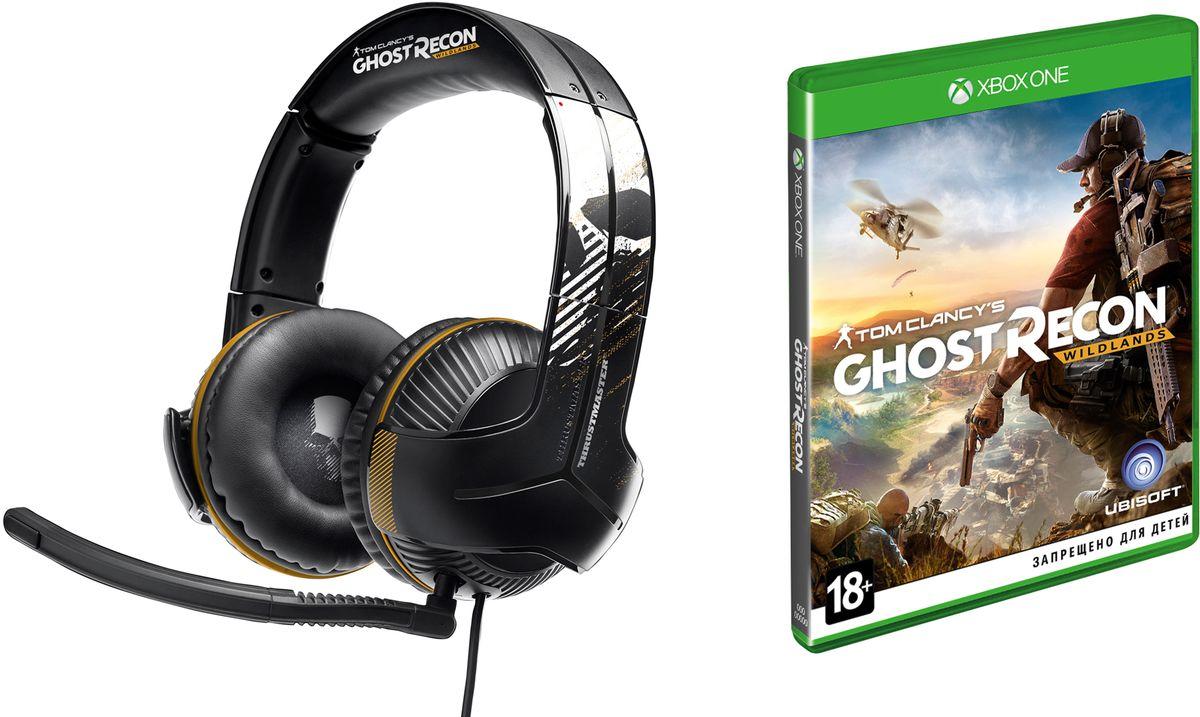 Thrustmaster Y350X Ghost Recon Wildlands игровая гарнитура для Xbox One/PC + игра Ghost Recon Wildlands для Xbox OneTHR69Thrustmaster Y350X — эта игровая гарнитура, созданная в глобальном партнерстве с легендарным брендом Ghost Recon, обеспечивает идеальный звук на Xbox One и ПК с Windows 10!Высококачественные мощные 60-мм динамики - ощутите игровой раж благодаря суперусиленным басовым частотам! Двойное электроакустическое усиление басов благодаря специальному дизайну ушных чашек. Дополняется электронным усилением басов, встроенным непосредственно в контроллер.Технология 7.1 Virtual Surround Sound позволяет с точностью локализовать каждый звук в игре, обеспечивая максимальное погружение в борьбу! Теперь геймеры могут ощутить всю мощь взрывов и стрельбы - как в настоящей атаке. Слышать первым - реагировать первым - стрелять первым!100% пена с эффектом памяти на ушных подушках и оголовье обеспечивает исключительное удобство. Большие, супермягкие ушные подушки и мягкая пенная прокладка под дугой оголовья - для максимального комфорта и эффективной пассивной изоляции. В комплекте съемный регулируемый микрофон, предназначенный для улавливания исключительно голоса геймера для обеспечения четкой и максимально эффективной коммуникации с партнерами по команде.Моментальный доступ к аудиофункциям игры с точной индикацией. Благодаря цветовому обозначению функций геймеры в любой момент могут определить свои аудионастройки. Регулировка общего уровня громкости и громкости басов. Быстрая и точная настройка параметров.Гарнитура имеет функцию автопитания от встроенного в провод аккумулятора в Sound Commander. Она питает функции активного баса и виртуального объемного звука 7.1. Геймеры могут не прерывать игру благодаря функции зарядки во время игры.Требуется официальный игровой пульт Microsoft для ПК с Windows 10.