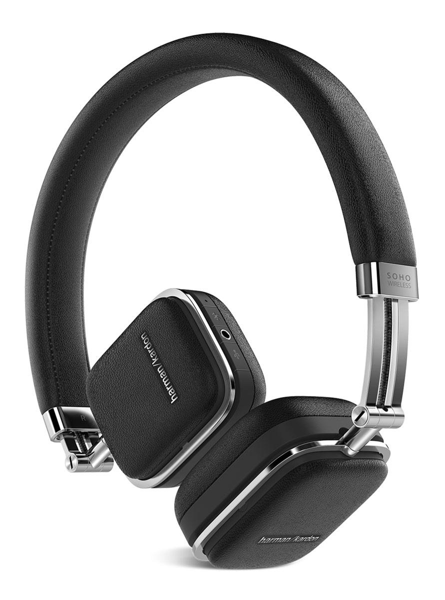 Harman Kardon Soho Wireless, Black наушникиHKSOHOBTBLKПремиальные складные наушники Harman Kardon Soho Wireless, выполненные из высококачественной стали и отделанные натуральной кожей, обзавелись беспроводной технологией Bluetooth, датчиком NFC и сенсорным управлением, которое расположилось на одной из чашек. Звучание осуществляется через 30-мм неодимовые драйверы, заслужившие доверие меломанов по всему миру.Быстрая связь с мобильными устройствами настраивается путем технологии NFC, потоковая передача данных осуществляется по Bluetooth с помощью задействованных кодеков aptX и AAC. Управлять Harman Kardon Soho Wireless очень просто - достаточно прикоснуться к чашке и отрегулировать громкость музыки, переключиться от одного трека к другому или приостановить воспроизведение.Когда встроенный аккумулятор разряжается, наушники продолжат работу через комплектный кабель, подключаемый через USB, одновременно подзаряжаясь от мобильного устройства. Мгновенный доступ к удаленным функциям так близок. Достаточно прикоснуться к чашке и управлять воспроизведением музыки, громкостью и переключением от одного трека к другому.Использование только лучших материалов в конечном итоге привело к созданию наушников, которые не просто приятно использовать, но приятно даже просто держать в руках. Высококачественная сталь, отделка из натуральной кожи и мягкие амбушюры - вот то, чего вы ждете от любимых наушников. А специальный складной механизм делает Harman Kardon Soho Wireless лучшими спутниками на любой дороге.