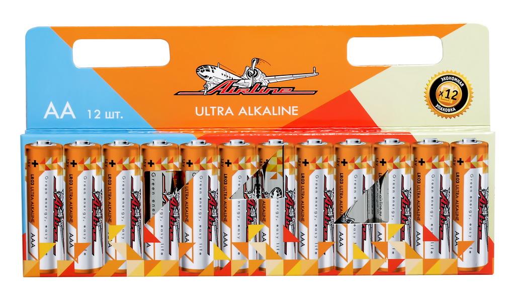 Батарейки Airline, LR6/AA, щелочные, 12 штAA-12Щелочные батарейки Airlineиспользуются для питания всевозможных электронных устройств, игрушек, фонарей и т.д. Длительный срок службы позволит удовлетворить ваши основные потребности в электропитании.Блистер имеет вырубку для подвеса на крючок