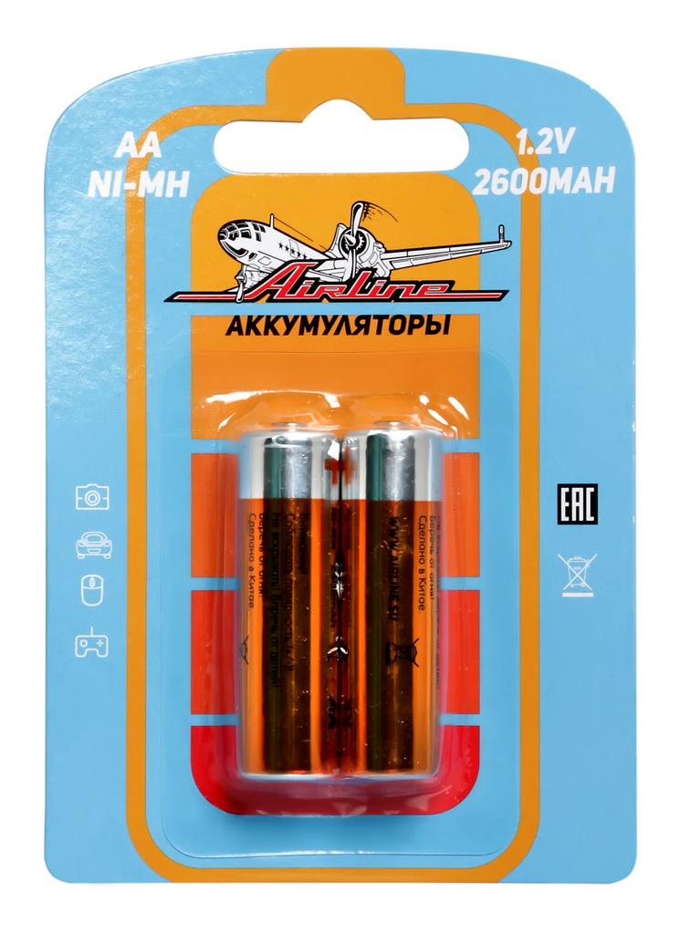 Батарейки Airline, AA HR6, аккумулятор Ni-Mh, 2600 mAh, 2 штAA-26-02Батарейки Airline используются для питания всевозможных электронных устройств, игрушек, фонарей, брелоков сигнализаций, иммобилайзеров и других. Длительный срок службы позволит удовлетворить ваши основные потребности в электропитании.Блистер имеет вырубку для подвеса на крючок