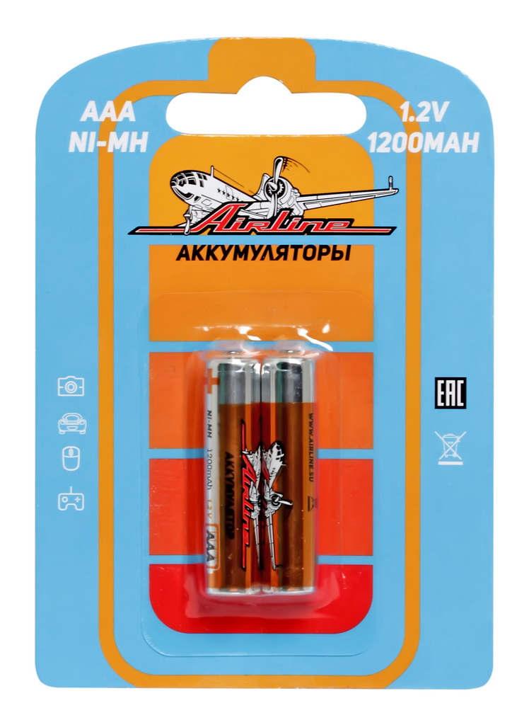 Батарейки Airline, AAA HR03 аккумулятор Ni-Mh 1200 mAh, 2 штAAA-12-02Никель-металл-гидридные (NiMH) аккумуляторы популярных типоразмеров ААА и АА в блистерах по 2 штуки.