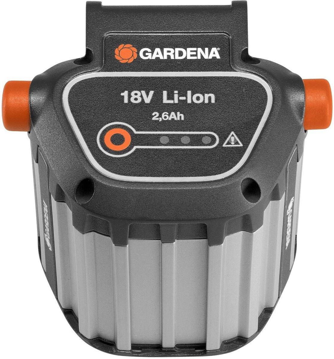Аккумулятор Gardena BLi-18, литий-ионный09839-20.000.00Мощная литий-йонная аккумуляторная батарея, экологически безопасная, для турботриммера EasyCut Li-18/23R.