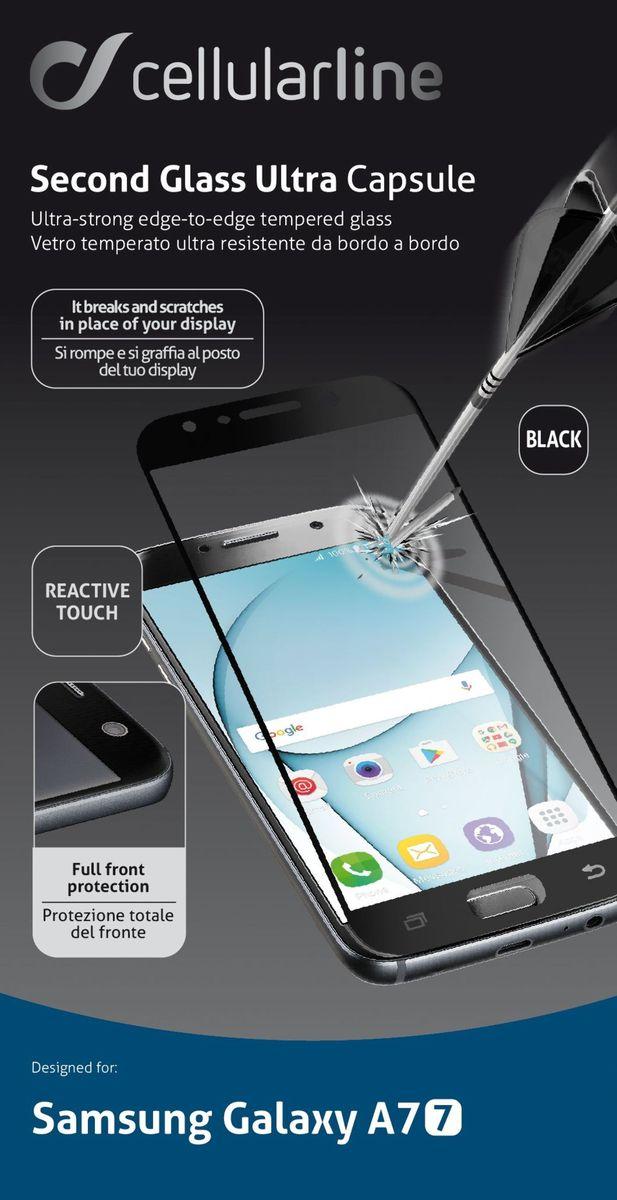 Cellular Line защитное стекло для Samsung Galaxy A7 (2017), BlackTEMPGCAPGALA717KЗащитное стекло Cellular Line для Samsung Galaxy A7 (2017) обеспечивает надежную защиту сенсорного экрана устройства от большинства механических повреждений и сохраняет первоначальный вид дисплея, его цветопередачу и управляемость. В случае падения стекло амортизирует удар, позволяя сохранить экран целым и избежать дорогостоящего ремонта. Стекло обладает особой структурой, которая держится на экране без клея и сохраняет его чистым после удаления. Силиконовый слой предотвращает разлет осколков при ударе.