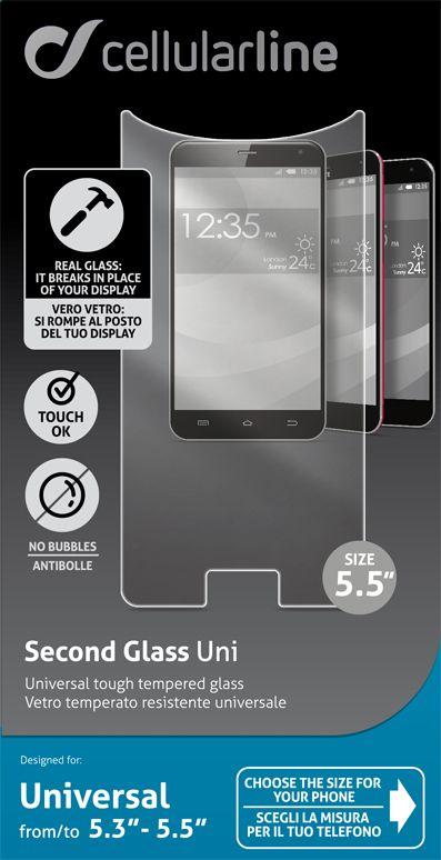 Cellular Line универсальное защитное стекло для устройств с диагональю 5.3-5.5TEMPGLASBUNI55