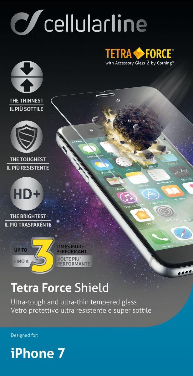Cellular Line Tetra Force защитное стекло для iPhone 7 ультрапрочноеTETRAGLASSIPH747Защитное стекло Cellular Line Tetra Force для iPhone 7 является последним рубежом для защиты дисплея: супер-тонкое закаленное листовое стекло с химической закалкой (молекулярный процесс, который увеличивает плотность и прочность, несмотря на уменьшенную толщину), что делает его еще прочнее. Держится до трех раз дольше, чем стандартные закаленные защитные стекла!