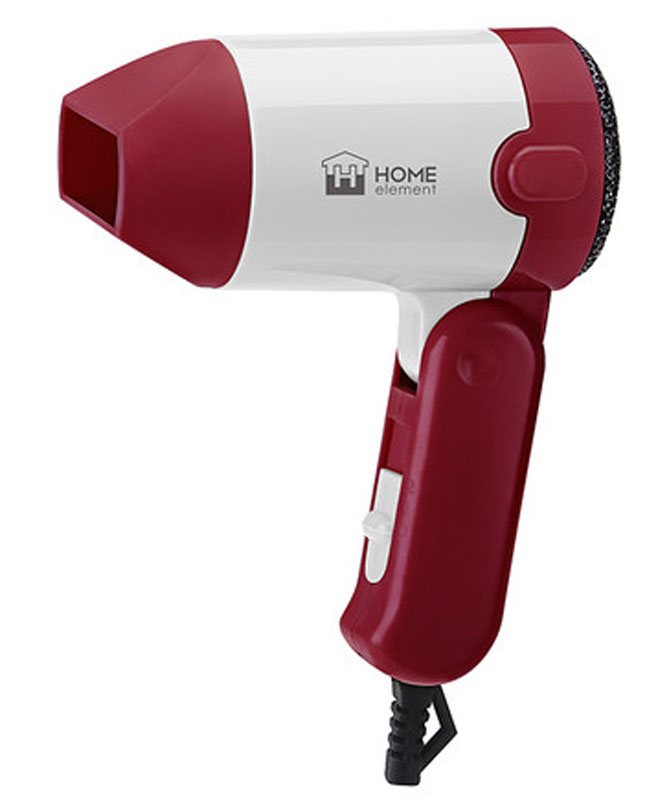 Home Element HE-HD313, Ruby Red фенHE-HD313Home Element HE-HD313 - компактный и очень удобный фен, чтобы брать с собой в дорогу или хранить в небольшом шкафчике. Благодаря складной ручке фен занимает минимум места при хранении или транспортировке. Фен имеет два режима мощности воздушного потока и абсолютно безопасен, отключаясь автоматически при перегреве.Удобный переключатель мощности воздушного потока на два положения: для бережной укладки или интенсивной сушки волос.Ручка складывается вдоль корпуса фена, обеспечивая наилучшее хранение. В сложенном виде фен занимает минимум места и идеален для путешествий.