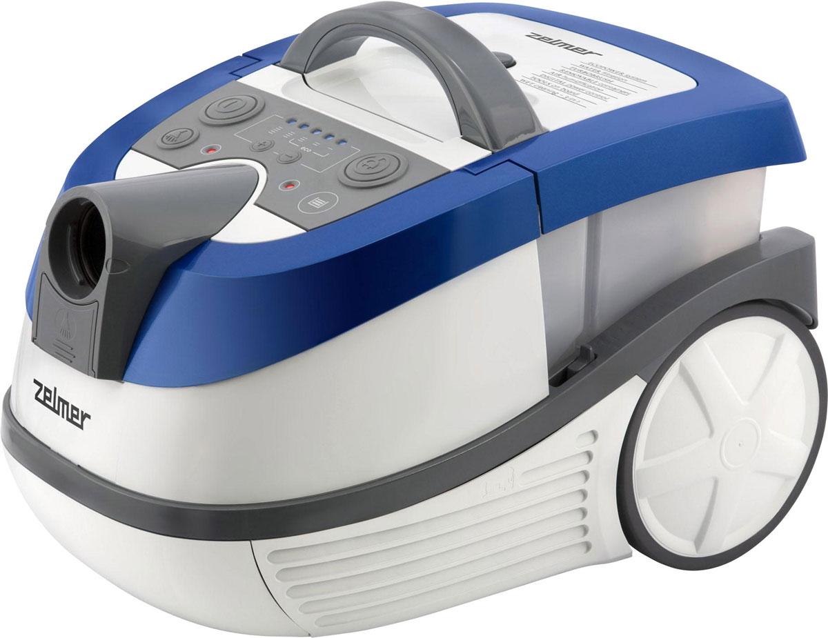 Zelmer ZVC 752STRU, White Blue пылесос моющийZVC752STRUМногофункциональный пылесос Zelmer ZVC752STRU позволяет собирать пыль в мешок Safbag или же специальный контейнер с водой, а также собирать воду и мыть ковры или обивку диванов.O качестве выходного воздуха заботится двойная система фильтрации, использующая фильтрующие свойства воды и HEPA-фильтра, который можно легко промыть водой. Цифровая регулировка мощности, эластичный шланг Flexi, щетка с сепаратором мелких предметов, а также щетка для паркета с натуральным ворсом и турбощетка для ковров делают пылесос удобным в пользовании.Пылесос рассчитан как на горизонтальную, так и на вертикальную парковку, поэтому для его хранения не потребуется много места.Многофункциональный: сбор воды, влажная уборка ковров, уборка пыли в мешок или контейнер с водой.Моющийся HEPA-фильтр H10 эффективно улавливает частицы размером 0,3 микрона.Турбощетка – идеальное решение для чистки ковров от шерсти и глубоко сидящей грязи.