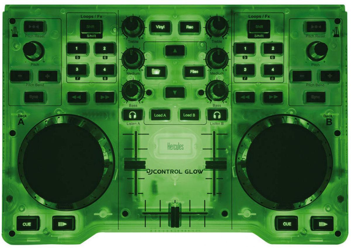 Hercules DJControl Glow, Green микшерный пульт