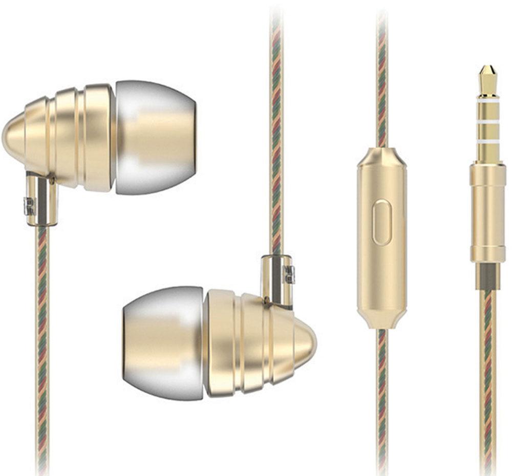 Harper HV-805, Gold наушникиH00000973Наушники Harper HV-805 относятся к классу динамических проводных наушников-вкладышей (внутриканальные). Они обеспечивают отличное качество звука вкупе с дополнительным функционалом (гарнитура для разговора и управление переключением / перемоткой музыки).Кабель наушников имеет оптимальную длину в 1,2 метра и прямой штекер 3,5 мм Jack (он наиболее удобен для портативной техники, носимой в карманах или сумочках).Технические параметры наушников обеспечивают действительно насыщенное звучание басов. Воспроизводимые частоты – 20-20000 Гц (с уклоном в сторону низких частот), импеданс – 32 Ом, чувствительность – 102 дБ, пиковая мощность излучателя – 10 мВт, диаметр излучателя – 10 мм.Микрофон расположен на кабеле правого наушника, на корпусе микрофона имеется кнопка управления треками, она же используется для приема/завершения вызова в режиме телефонной гарнитуры.Управление треками (переключение назад, вперед, воспроизведение, приостановка), а также перемоткой назад и вперед осуществляется за счет нажатия кнопки управления в определенной последовательности (все комбинации изложены в инструкции к наушникам).Комбинации управления работают только с операционными системами Android (версия 4.3 и выше) и iOS (версия 5 и выше).