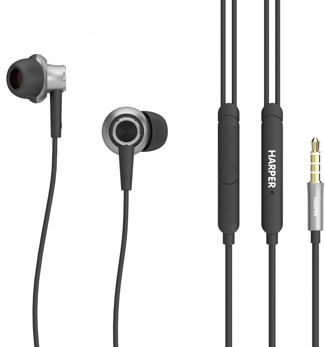 Harper HV-808, Black наушникиH00001237Проводные стереонаушники Harper HV-808 обладают анатомической формой и разработаны таким образом, чтобы сделать качество звучания музыки непревзойденным. Этому способствуют форма наушников (звучание под углом к слуховому каналу), а также техническая начинка. С Harper HV-808 вы сможете слушать музыку в идеальном качестве даже на небольшой громкости.В комплекте поставляются три набора мягких силиконовых накладок разного размера и удобный чехол для хранения и переноски наушников. В инструкции вы найдете рекомендации по подбору правильного размера амбушюр, а также инструкции по уходу и эксплуатации Harper HV-808.Несмотря на то, что наушники проводные, при использовании с современными смартфонами на базе ОС Android или iOS, вы сможете управлять треками (перемотка, переключение, пауза, воспроизведение) и вызовами (режим телефонной гарнитуры). Для этого в едином корпусе на проводе наушников с микрофоном размещены три кнопки.Наличие разъема 3,5 мм mini-jack делает наушники Harper HV-808 универсальными, так как указанный способ подключения доступен практически всем современным гаджетам, воспроизводящим музыку.