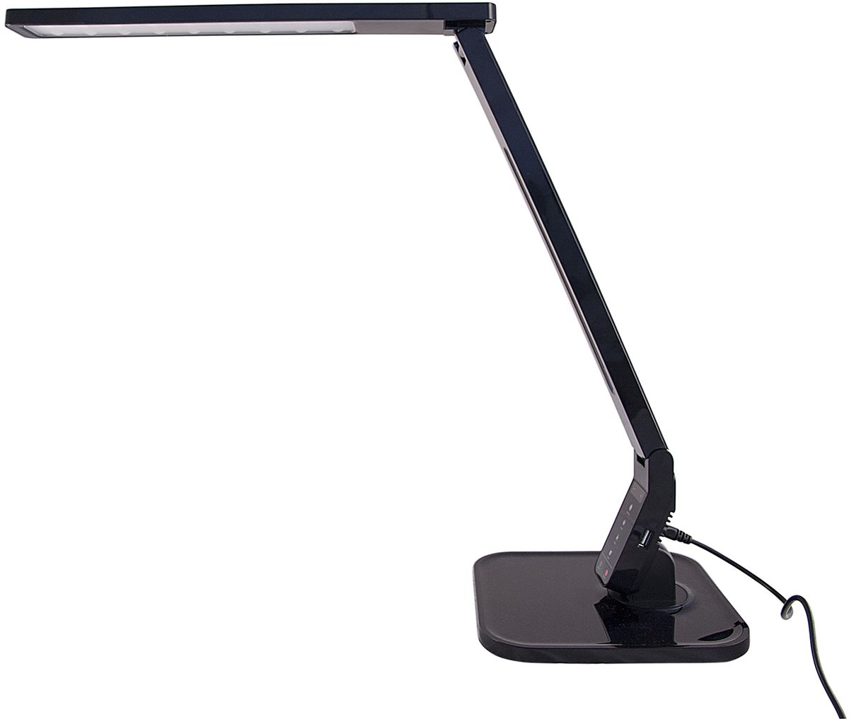 Лампа настольная Лючия Smart, светодиодная, цвет: черный, 11W. L7004606400105442Светодиодный настольный светильник модель L700 Smart. Предназначен для местного освещения внутри помещений. Напряжение сети 230 В, частота 50 Гц. Цветопередача Ra > 90.- USB-разъем для подзарядки 5 В 1.5 А- Cенсорное управление- 4 режима. Цветовая температура света в диапазоне от 2700 до 6600 К- Дискретное изменение яркости свечения (5 уровней)- Запоминание выбранного уровня яркости в каждом режимеИсточник света: SMD светодиоды, 27 шт.Регулировка направления светаКнопки: уменьшение/увеличение яркостиКнопка: режим чтениеКнопка: режим учебаКнопка: режим релаксацияКнопка: режим сонКнопка: таймер на 60 минКнопка: включение/ выключениеUSB-разъем для зарядкиРазъем для адаптера для сети 230 В