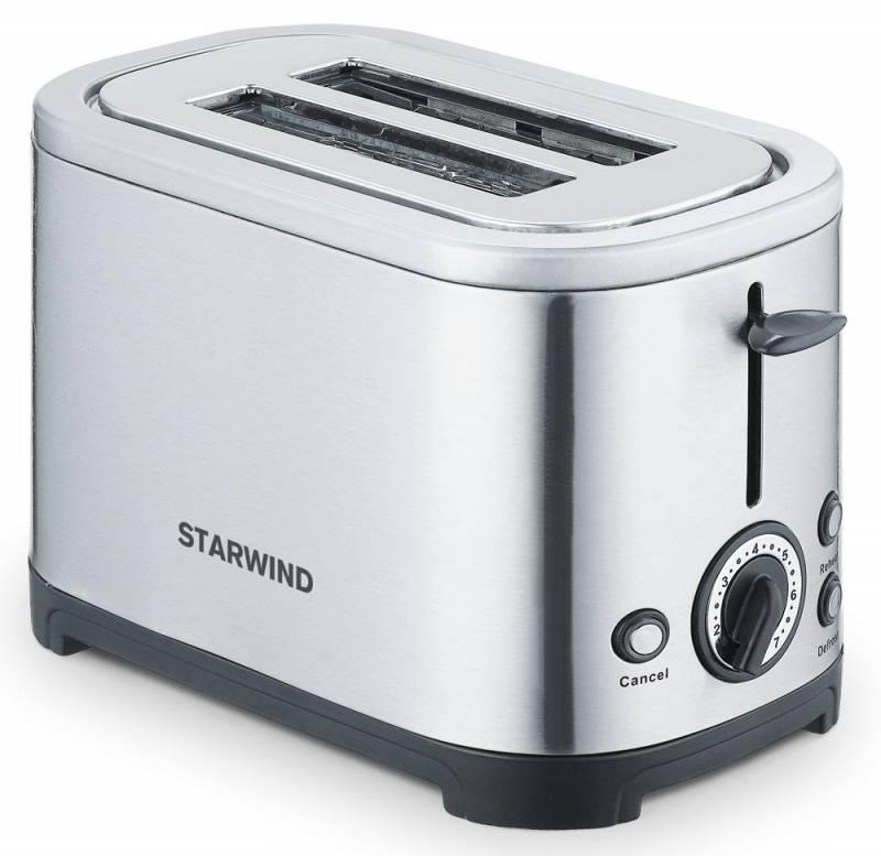 Starwind SET5573, Silver тостерSET5573Корпус тостера Starwind SET5573 выполнен из металла, что гарантирует его прочность и долговечность.Модель оснащена двумя отделениями для приготовления тостов. С помощью механического регулятора можно выбрать одну из семи возможных степеней обжарки для получения желаемой хрустящей корочки.Мощность 700 Вт позволяет прибору приготовить даже самый поджаристый ломтик все за пару минут. Тостер прост в обслуживании и не боится загрязнения внутренних элементов крошками, так как все они попадают в специальный съемный лоток. Он расположен в нижней части устройства, легко вынимается и моется.
