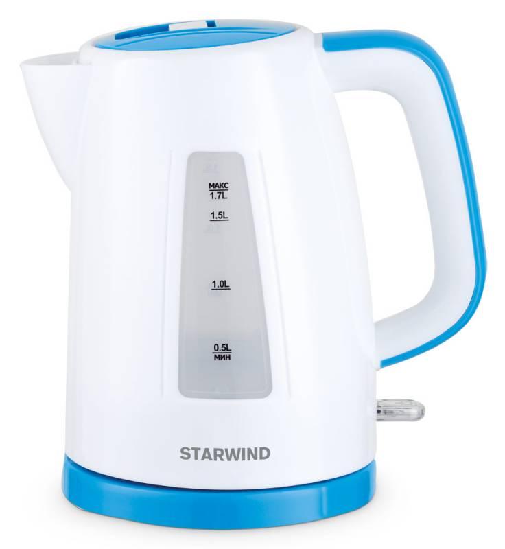 Starwind SKP3541, White Blue чайник электрическийSKP3541Электрический чайник Starwind SKP3541 прост в управлении и долговечен в использовании. Изготовлен из высококачественных материалов. Прозрачное окошко позволяет определить уровень воды. Мощность 2200 Вт позволит вскипятить 1,7 литра воды в считанные минуты. Для обеспечения безопасности при повседневном использовании предусмотрены функция автовыключения, а также защита от включения при отсутствии воды.Контроллер STRIX KEAI