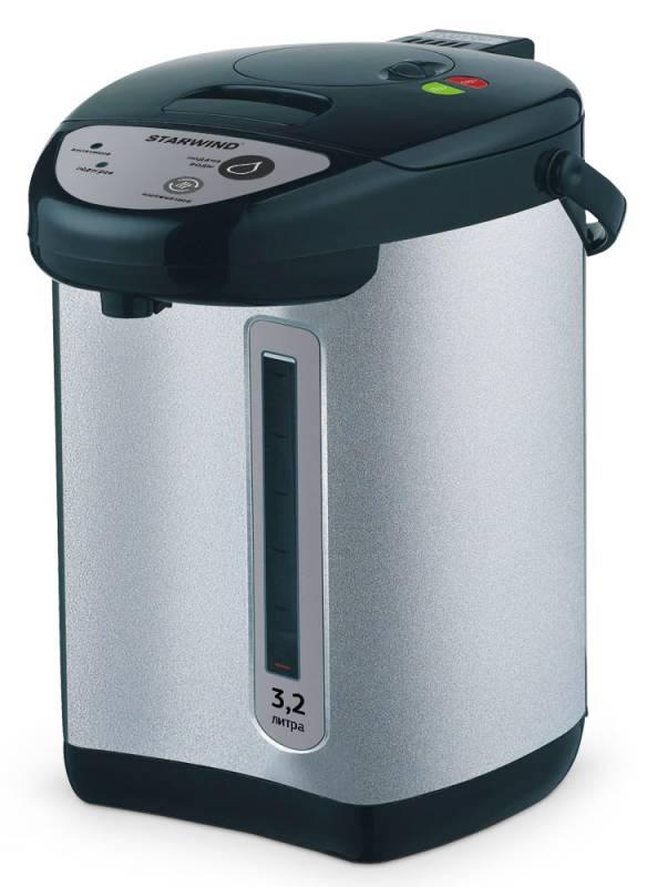 Starwind STP4176, Black Silver термопотSTP4176Для экономии времени, которое тратится на нагревание чайника, можно использовать термопот Starwind STP4176.Высокая мощность прибора 750 Вт и вместимость, достигающая 3,2 л, являются весомыми преимуществами при использовании устройства. Вода в нем будет очень быстро нагреваться и долго остывать. Удобная ручка позволяет переносить ее в любое подходящее место.Прибор поддерживает температуру воды и блокирует кнопку включения при отсутствии жидкости внутри. Наличие функции повторного кипячения и возможность следить за уровнем наполненности делают работу с прибором удобной и комфортной.