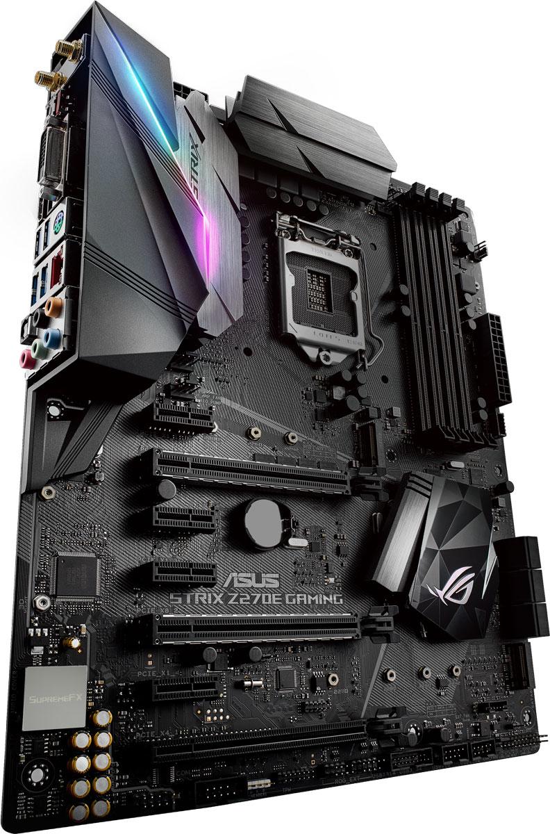 ASUS ROG STRIX Z270E GAMING материнская плата90MB0RN0-M0EAY0Геймерская ATX-плата ASUS ROG Strix Z270E Gaming для платформы Intel LGA 1151 с технологией синхронизации светодиодной подсветки Aura Sync, модулем Wi-Fi 802.11ac, поддержкой DDR4 3866 МГц, двумя разъемами M.2, портами SATA 6 Гбит/с, HDMI и USB 3.1 Type-C на передней панели.Intel Z270 – это новейший чипсет, оптимизированный для работы с процессорами Intel серий Core i7 / Core i5 / Core i3 / Pentium / Celeron седьмого и шестого поколений, устанавливаемыми в разъем LGA1151. Особенностью этих процессоров являются встроенные контроллеры памяти и шины PCI Express, обеспечивающие работу двухканальной памяти DDR4 (4 DIMM) и 16 линий PCI Express 3.0/2.0, а также мощное интегрированное графическое ядро. Данный чипсет отличается высокой стабильностью, производительностью и пропускной способностью. Материнская плата ROG Strix Z270 продолжает славные традиции геймерских продуктов серии Pro Gaming, дополняя их современными решениями от команды разработчиков Republic of Gamers. В материнской плате ROG Strix Z270E Gaming сочетаются смелая эстетика, отличная производительность и невероятное качество звучания, которые подарят пользователям непревзойденные возможности для игр и подчеркнут их эксклюзивный геймерский стиль. Поддержка новейших процессоров и технологий Intel и эксклюзивные инновации ROG выводят производительность системы, построенной на базе данной платы, на новый уровень, чтобы предоставить геймеру полное преимущество над оппонентами. ROG Strix Z270E заряжает каждое движение игрока в игре мощной энергией и вооружает его несравненной скоростью и ловкостью. Присоединяйтесь к республике геймеров с ROG Strix Z270E Gaming и доминируйте в каждой игре!В комплект материнской платы входит удобная в работе утилита Aura для управления подсветкой, с помощью которой дизайн вашего компьютера станет незабываемым. Она позволяет регулировать как встроенную светодиодную подсветку, так и подключенные к 4-контактному разъему на пл