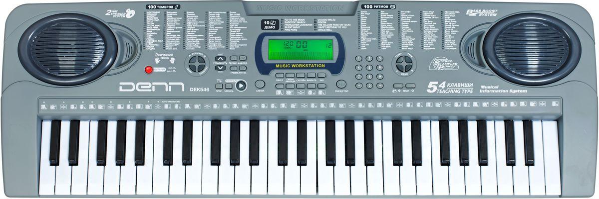 Denn DEK546 цифровой синтезаторDEK546Синтезатор Denn DEK546 отлично подойдет для тех, кто желает сделать первые шаги в знакомстве с клавишными музыкальными инструментами.Встроенные мелодии в режиме обучения легко выучить – клавиши, которые необходимо нажимать для воспроизведения будут отображаться на ЖК-дисплее.Синтезатор работает от 6 батареек (размер AA), что позволяет его безопасно использовать без подключения к сети высокого напряжения, а его компактные размеры и небольшой вес позволяют брать его с собой на улицу.Предустановленные композиции: 10Динамики: 2x1 ВтПотребляемая мощность: 9 Вт