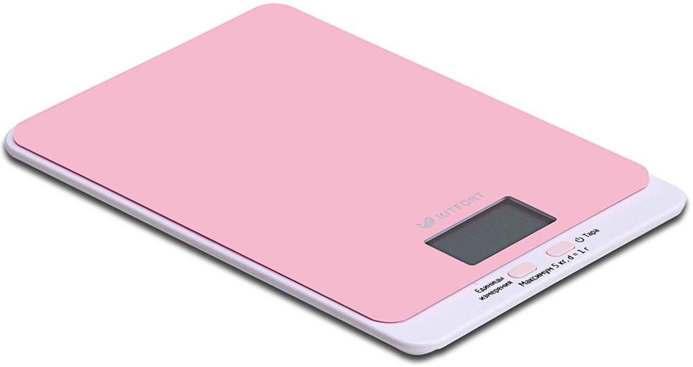 Kitfort КТ-803-2, Pink весы кухонныеКТ-803-2Электронные кухонные весы Kitfort КТ-803 позволяют определять вес до 5 кг с точностью до 1 грамма. Они оснащены жидкокристаллическим дисплеем с крупными цифрами, функциями автокалибровки, тарировки и выбора единиц измерения. Платформа выполнена из высокопрочного полированного стекла, а прорезиненные ножки обеспечивают весам дополнительную устойчивость и предотвращают их скольжение по поверхности. Для получения максимально точного результата устанавливайте весы на ровную горизонтальную поверхность. Датчики веса находятся в ножках весов, поэтому если они стоят на неровной или мягкой поверхности, то вес будет измеряться неправильно. Функция тарировки работает только при включенных весах.Левая кнопка используется для переключения единиц измерений. Включите весы, дождитесь окончания калибровки, затем последовательными нажатиями на кнопку выберите требуемые единицы измерения: g (граммы), oz (унции), lb: oz (фунты: унции), ml (миллилитры), fl.oz (жидкие унции). Выбранные в данный момент единицы измерения отображаются в правой части дисплея.