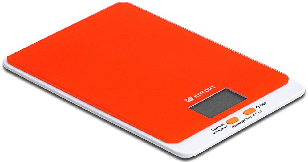 Kitfort КТ-803-5, весы кухонные цвет: оранжевыйКТ-803-5Электронные кухонные весы Kitfort КТ-803 позволяют определять вес до 5 кг с точностью до 1 грамма. Они оснащены жидкокристаллическим дисплеем с крупными цифрами, функциями автокалибровки, тарировки и выбора единиц измерения. Платформа выполнена из высокопрочного полированного стекла, а прорезиненные ножки обеспечивают весам дополнительную устойчивость и предотвращают их скольжение по поверхности. Для получения максимально точного результата устанавливайте весы на ровную горизонтальную поверхность. Датчики веса находятся в ножках весов, поэтому если они стоят на неровной или мягкой поверхности, то вес будет измеряться неправильно. Функция тарировки работает только при включенных весах.Левая кнопка используется для переключения единиц измерений. Включите весы, дождитесь окончания калибровки, затем последовательными нажатиями на кнопку выберите требуемые единицы измерения: g (граммы), oz (унции), lb: oz (фунты: унции), ml (миллилитры), fl.oz (жидкие унции). Выбранные в данный момент единицы измерения отображаются в правой части дисплея.