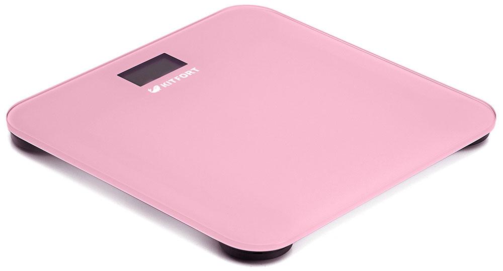 Kitfort КТ-804-2, Pink весы напольныеКТ-804-2Электронные напольные весы Kitfort КТ-804 обеспечивают высокую точность измерения и станут неизменным спутником для людей, следящих за своим весом. Весы оснащены жидкокристаллическим дисплеем с крупными цифрами, что делает их использование максимально удобным. Платформа выполнена из высокопрочного полированного стекла, а прорезиненные ножки обеспечивают весам дополнительную устойчивость и предотвращают их скольжение по полу, что гарантирует безопасность во время взвешивания.Включение и выключение весов Kitfort КТ-804 происходит автоматически. После взвешивания показания весов фиксируются. При каждом включении весы автоматически калибруются и тарируются для обеспечения большей точности показаний. Весы имеют яркий привлекательный дизайн, благодаря чему украсят собой любой интерьер.Минимальный вес: 2,5 кг