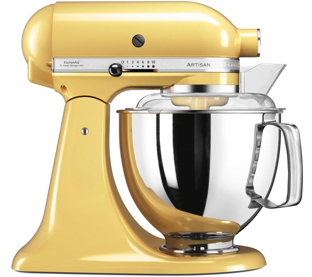 KitchenAid Artisan, Yellow миксер планетарный (5KSM175PSEMY)5KSM175PSEMYМиксер KitchenAid 5KSM175PSEMY - уникальное многофункциональное устройство, практически не имеющее аналогов на рынке техники для дома и кухни. Легендарный бренд, чья история насчитывает уже более 90 лет, завоевал сердца домохозяек благодаря своей невероятной надежности, долговечности и отменному качеству.Процесс производства миксеров KitchenAid не оставляет сомнений в долговечности этого прибора. Литые детали механизма изготовлены из высококачественной стали. Ручная сборка и тщательная подгонка частей привода обеспечивают низкий уровень шума и вибрации, являются гарантией безупречной работы прибора.Классический дизайн миксеров KitchenAid Artisan станет украшением интерьера любой кухни. Одна из отличительных особенностей этой серии - богатая цветовая гамма. На выбор покупателей предлагаются модели почти двух десятков разнообразных оттенков.Откидывающаяся головка миксера KitchenAid Artisan позволяет легко менять насадки и устанавливать чашу.Миксер имеет 10 скоростных режимов, от медленного смешивания до высокоскоростного взбивания. Базовая комплектация миксера включает: чашу объемом 4,83 л., крюк для теста, венчик для взбивания, насадку-лопатку для перемешивания, крышку для чаши (дежи) и защитный обод с воронкой для засыпания продуктов. Этого набора достаточно, чтобы миксер успешно выполнял базовые функции.В передней части привода миксера имеется еще одно гнездо для подсоединения дополнительных насадок. Они позволяют значительно расширить функции миксера, превращая его в настоящий кухонный комбайн. В дополнение к миксеру можно купить: насадку-мясорубку, насадку для наполнения колбасной оболочки, овощерезку, насадку протирку для фруктов и овощей, чашу для приготовления мороженого, насадку-мельницу, насадки для нарезки лапши и спагетти, пресс для пасты и макарон, насадку для равиоли, насадку-консервный нож, соковыжималку для цитрусовых и т.д.