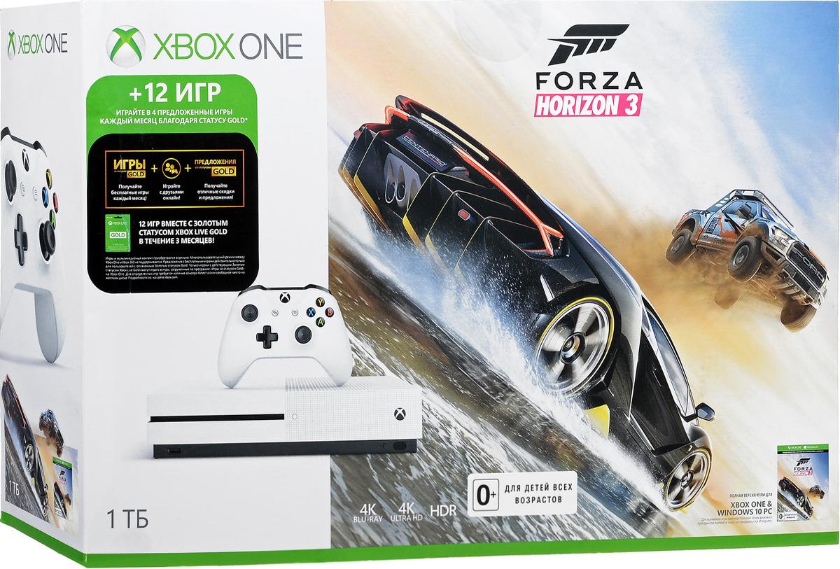 Игровая приставка Xbox One S 1 ТБ + Forza Horizon 3234-00115-1Игровая приставка Xbox One S - единственная консоль с 4K-плеером Blu-Ray, потоковым видео с разрешением 4K и функцией расширенного динамического диапазона (HDR). Играйте в лучшую линейку игр, включая классические игры с Xbox 360, на консоли, которая компактнее на 40%. Не обманывайтесь ее размером, благодаря встроенному блоку питания и жесткому диску емкостью до 1 ТБ консоль Xbox One S - самая продвинутая из всех Xbox на сегодняшний день! Наслаждайтесь более насыщенными и яркими цветами в таких играх, как Gears of War 4 и Forza Horizon 3. Технология расширенного динамического диапазона повышает контраст между светлыми и темными участками изображения, представляя игры во всем их великолепии! Разрешение 4K Ultra HD в четыре раза превышает стандартное разрешение HD, обеспечивая максимально четкое и реалистичное отображение. Смотрите потоковое видео в формате 4k из Netflix и Amazon Video, а также фильмы на дисках Ultra HD Blu-ray, с восхитительным качеством изображения благодаря расширенному динамическому диапазону. Настройте Xbox One S на включение других устройств, например телевизора, ресивера и кабельной или спутниковой приставки. Во время игр и просмотра фильмов встроенный ИК-передатчик позволит делать всё быстрее и забыть о пультах ДУ. Беспроводной геймпад Xbox One обеспечивает беспрецедентный комфорт и отличается более изящной и оптимизированной конструкцией. Дальность действия увеличилась почти в два раза! Текстурная поверхность позволяет лучше прицеливаться. А благодаря интерфейсу Bluetooth играть с этим геймпадом в любимые игры можно на ПК, планшетах и смартфонах с Windows 10. Консоль Xbox One S можно установить вертикально благодаря специальной подставке (продается отдельно).