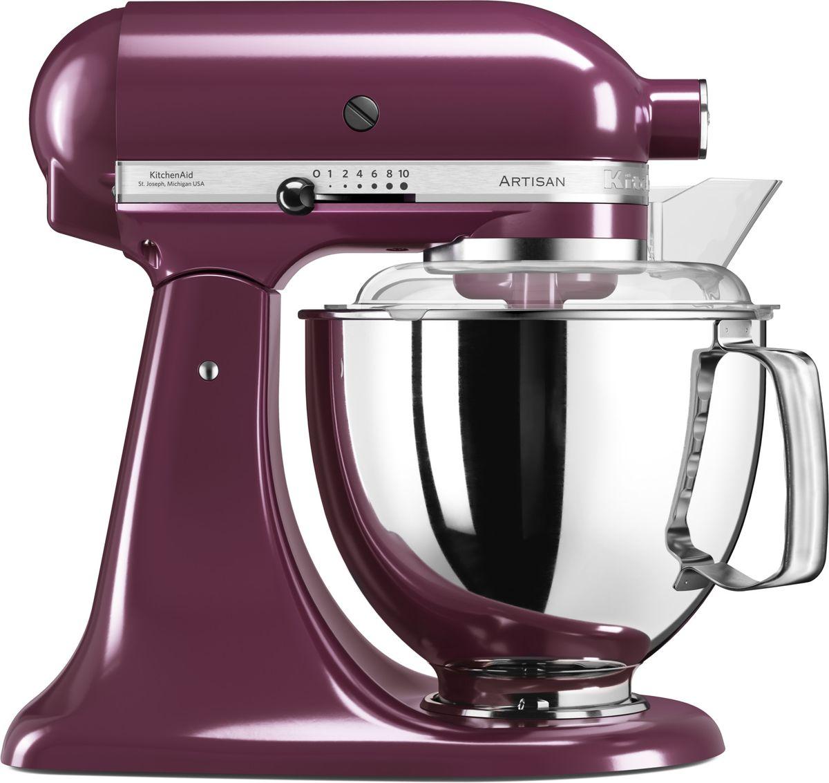 KitchenAid Artisan, Purple миксер планетарный (5KSM175PSEBY)5KSM175PSEBYМиксер KitchenAid Artisan - это уникальное многофункциональное устройство, практически не имеющее аналогов на рынке техники для дома и кухни. Сочетание классического элегантного дизайна и высокой мощности, соответствующей стандартам профессионального оборудования, делает этот миксер фаворитом не только на домашней кухне, но и на рабочем столе мастеров поварского искусства.Откидывающаяся головка миксера KitchenAid Artisan позволяет легко менять насадки и устанавливать чашу. Миксер имеет 10 скоростных режимов, от медленного смешивания до высокоскоростного взбивания. Базовая комплектация миксера включает: чашу объемом 4,83 литра, крюк для теста, венчик для взбивания, насадку-лопатку для перемешивания, крышку для чаши и защитный обод с воронкой для засыпания продуктов. Этого набора достаточно, чтобы миксер успешно выполнял базовые функции.В передней части привода миксера KitchenAid имеется еще одно гнездо для подсоединения дополнительных насадок. Они позволяют значительно расширить функции миксера, превращая его в настоящий кухонный комбайн. Планетарный миксер KitchenAid Artisan избавит вас от необходимости покупать несколько разных бытовых приборов для кухни. Его высокая мощность и уникальная конструкция позволяют готовить даже сложные блюда на высоком профессиональном уровне.Процесс производства миксеров KitchenAid не оставляет сомнений в долговечности этого прибора. Литые детали механизма изготовлены из высококачественной стали. Ручная сборка и тщательная подгонка частей привода обеспечивают низкий уровень шума и вибрации, являются гарантией безупречной работы прибора. Цельнометаллический корпус покрывается прочной цветной эмалью, устойчивой к механическим повреждениям, которая сохраняет привлекательный внешний десятилетиями. Классический дизайн миксеров KitchenAid Artisan станет украшением интерьера любой кухни. Одна из отличительных особенностей этой серии - богатая цветовая гамма.