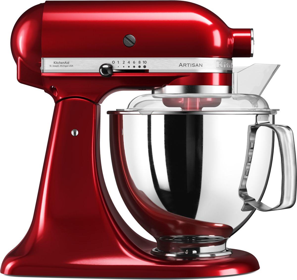 KitchenAid Artisan, Red миксер планетарный (5KSM175PSECA)5KSM175PSECAМиксер KitchenAid Artisan - это уникальное многофункциональное устройство, практически не имеющее аналогов на рынке техники для дома и кухни. Сочетание классического элегантного дизайна и высокой мощности, соответствующей стандартам профессионального оборудования, делает этот миксер фаворитом не только на домашней кухне, но и на рабочем столе мастеров поварского искусства.Откидывающаяся головка миксера KitchenAid Artisan позволяет легко менять насадки и устанавливать чашу. Миксер имеет 10 скоростных режимов, от медленного смешивания до высокоскоростного взбивания. Базовая комплектация миксера включает: чашу объемом 4,83 литра, крюк для теста, венчик для взбивания, насадку-лопатку для перемешивания, крышку для чаши и защитный обод с воронкой для засыпания продуктов. Этого набора достаточно, чтобы миксер успешно выполнял базовые функции.В передней части привода миксера KitchenAid имеется еще одно гнездо для подсоединения дополнительных насадок. Они позволяют значительно расширить функции миксера, превращая его в настоящий кухонный комбайн. Планетарный миксер KitchenAid Artisan избавит вас от необходимости покупать несколько разных бытовых приборов для кухни. Его высокая мощность и уникальная конструкция позволяют готовить даже сложные блюда на высоком профессиональном уровне.Процесс производства миксеров KitchenAid не оставляет сомнений в долговечности этого прибора. Литые детали механизма изготовлены из высококачественной стали. Ручная сборка и тщательная подгонка частей привода обеспечивают низкий уровень шума и вибрации, являются гарантией безупречной работы прибора. Цельнометаллический корпус покрывается прочной цветной эмалью, устойчивой к механическим повреждениям, которая сохраняет привлекательный внешний десятилетиями. Классический дизайн миксеров KitchenAid Artisan станет украшением интерьера любой кухни. Одна из отличительных особенностей этой серии - богатая цветовая гамма.