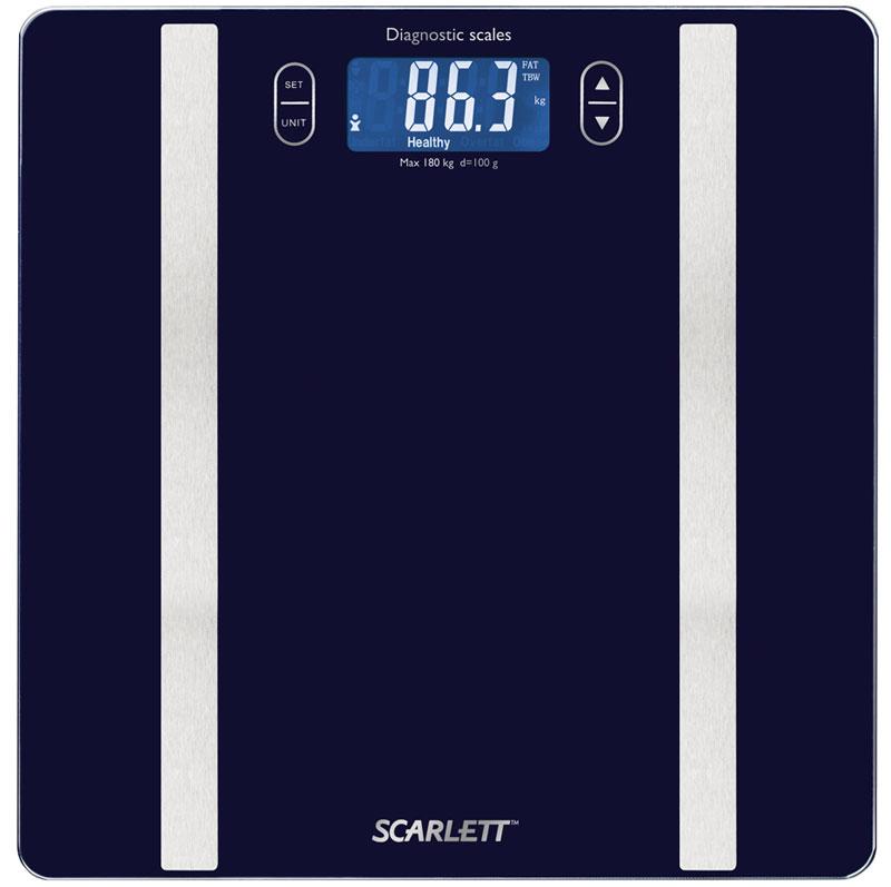 Scarlett SC-BS33ED82, Blue весы напольныеSC-BS33ED82Напольные весы Scarlett SC-BS33ED82 имеют уникальный дизайн стеклянной платформы. Это простой и удобный способ контролировать свой вес. Максимальная нагрузка на данную модель может составлять 180 кг.При перегрузе загорится предупреждающий сигнал. Также специальная индикация сообщит пользователям о необходимости замены элемента питания. Чтобы весы начали работать, достаточно просто встать на них. После взвешивания прибор отключится самостоятельно.Высокочувствительные датчикиИндикатор перегрузкиИндикатор батарейкиЦифровой жидкокристаллический дисплейПрорезиненные ножки