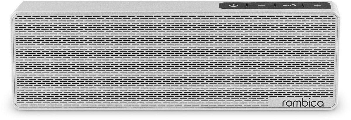 Rombica MySound BT-11 1C, Silver портативная акустическая системаSBT-0011GПортативная акустическая система Rombica MySound BT-11 1C совместима со всеми популярными устройствами с поддержкой Bluetooth. Встроенный сабвуфер обеспечивает улучшенное воспроизведение низких частот.Прием звонков с телефона: громкая связьBluetooth стандарт: v2.1 + EDRАккумулятор: 1200 мАч / 3.7 ВНаличие сабвуфераПокрытие корпуса, имитирующее брашированный метал