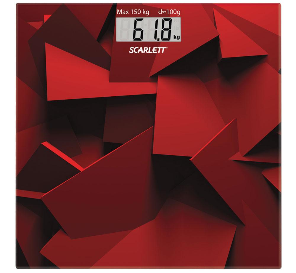 Scarlett SC-BS33E086, Red весы напольныеSC-BS33E086Напольные весы Scarlett SC-BS33E086 имеют уникальный дизайн платформы. Это простой и удобный способ контролировать свой вес. Максимальная нагрузка на данную модель может составлять 150 кг.При перегрузе загорится предупреждающий сигнал. Также специальная индикация сообщит пользователям о необходимости замены элемента питания. Чтобы весы начали работать, достаточно просто встать на них. После взвешивания прибор отключится самостоятельно.Высокочувствительные датчикиИндикатор перегрузкиИндикатор батарейкиЦифровой жидкокристаллический дисплейПрорезиненные ножки
