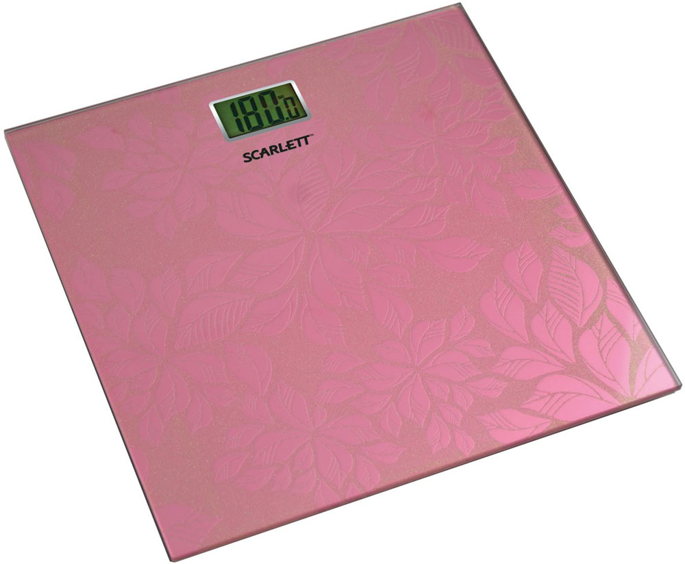 Scarlett SC-217, Pink весы напольныеSC-217_PНапольные весы Scarlett SC-217 имеют уникальный дизайн платформы. Это простой и удобный способ контролировать свой вес. Максимальная нагрузка на данную модель может составлять 180 кг.При перегрузе загорится предупреждающий сигнал. Также специальная индикация сообщит пользователям о необходимости замены элемента питания. Чтобы весы начали работать, достаточно просто встать на них. После взвешивания прибор отключится самостоятельно.Высокочувствительные датчикиИндикатор перегрузкиИндикатор батарейкиЦифровой жидкокристаллический дисплейПрорезиненные ножки