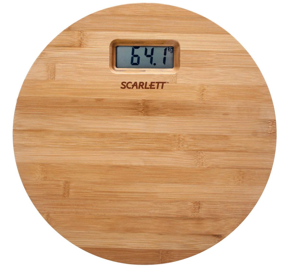 Scarlett SC-BS33E061, Bamboo весы напольныеSC-BS33E061Напольные весы Scarlett SC-BS33E061 имеют уникальный дизайн деревянной платформы. Это простой и удобный способ контролировать свой вес. Максимальная нагрузка на данную модель может составлять 180 кг.При перегрузе загорится предупреждающий сигнал. Также специальная индикация сообщит пользователям о необходимости замены элемента питания. Чтобы весы начали работать, достаточно просто встать на них. После взвешивания прибор отключится самостоятельно.Высокочувствительные датчикиИндикатор перегрузкиИндикатор батарейкиЦифровой жидкокристаллический дисплейПрорезиненные ножки