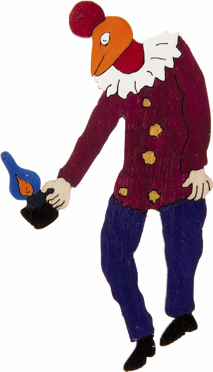 Брошь Человек-петух над Витебском. Дерево, роспись, ручная работа. РоссияАжурная брошьБрошь выполнена по картине Марка Шагала Человек-петух над Витебском (1925 г.).Дизайнеры: Олеся Луконина, Николай Уренцов.Дерево, роспись, ручная работа.Россия.Размер: 7 х 4 см.Тип крепления - булавка с застежкой.Брошь унисекс - подойдет как необычное украшение для мужчин и женщин! Можно носить на одежде, шляпе, рюкзаке или сумке.
