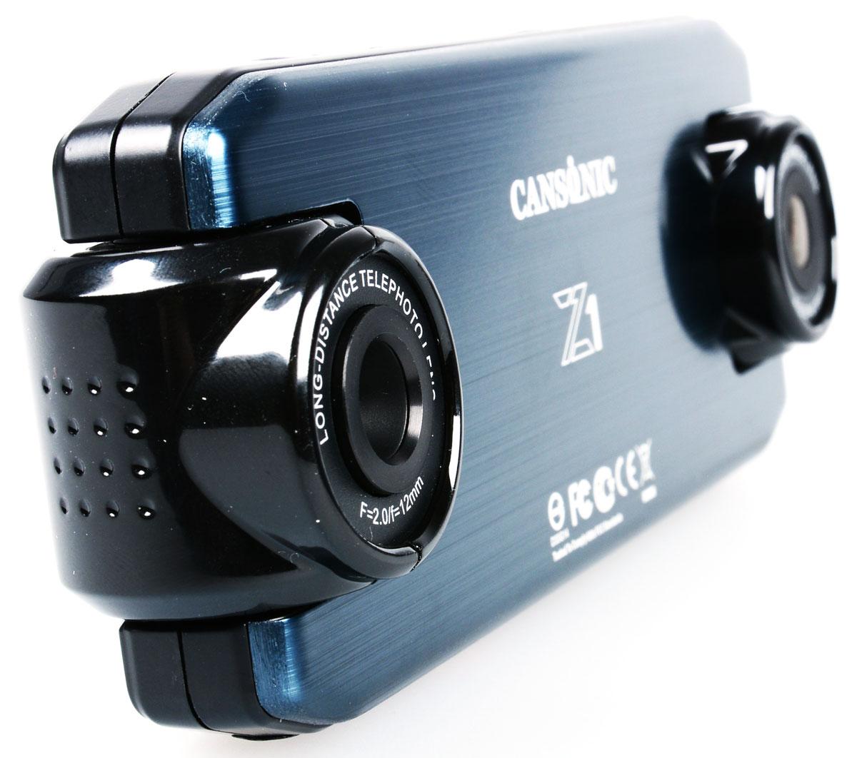 Cansonic Z1 Zoom GPS, Black видеорегистратор4627087521271Автомобильный видеорегистратор Cansonic Z1 Zoom GPS с двумя поворотными с разным углом обзора и поддержкой GPS. Данная модель пишет видео в с двух камер.Правая камера снимает с узким углом обзора (25 градусов), что позволяет различать регистрационные знаки автомобилей, левая камера снимает с широким углом обзора (150 градусов), что позволяет видеть дорожную обстановку.Устройство имеет две поворотных камеры. Левая камера – панорама с углом обзора в 150° позволяет снимать общую дорожную обстановку. Правая камера – бинокль позволяет видеть номерные знаки автомобилей на расстоянии до 40 метров.Автомобильный видеорегистратор сочетает в себе уникальный дизайн, надёжность и технологичность. Он способен работать в автономном режиме до 2-х часов. Поддерживается ГЛОНАСС/GPS модуль.Идущие в комплекте Cansonic Z1 Zoom GPS два варианта быстросъёмных крепления обеспечат возможность легкого снятия и установки аппарата на место. Небольшие размеры устройства и корпус выполненный в неприметном дизайне дают возможность незаметно установить видеорегистратор.Модель обладает дисплеем размером 2 дюйма. Экран яркий и контрастный. Даёт хорошую возможность для просмотра и настройки регистратора.В Cansonic Z1 Zoom GPS встроен G-сенсор, который реагирует на удар, резкое торможение, а также на резкие изменения скорости. G-сенсор гарантирует сохранность видеофайла при записи, которого произошел инцидент.Специально установленная на корпусе кнопка аварийной записи позволит сохранить видео в нестираемую область в памяти вашей карты, что позволит вам не волноваться за сохранность снятых вами материалов.Электронная стабилизация изображения Cansonic Anti-ShakeВстроенный аккумулятор Li-ion 700 мАчФункция WDR
